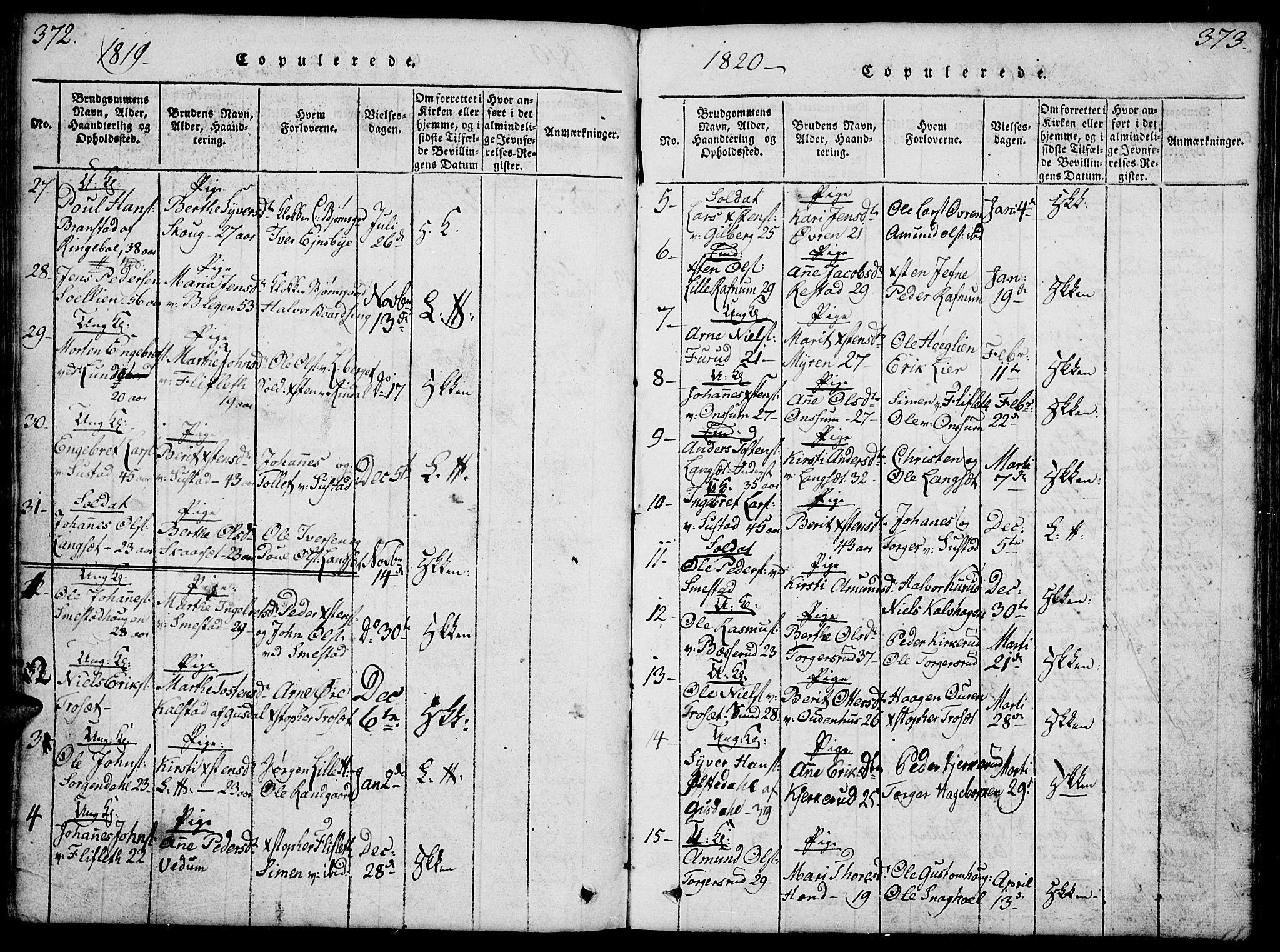 SAH, Fåberg prestekontor, Klokkerbok nr. 4, 1818-1837, s. 372-373