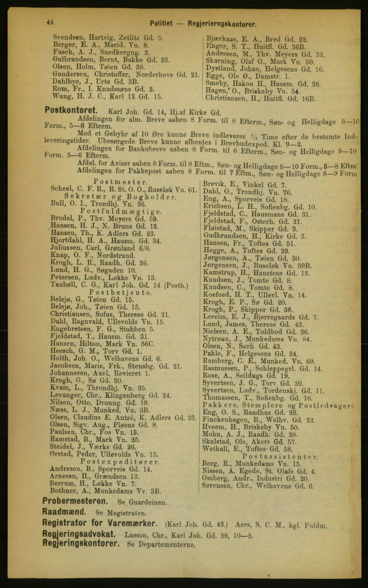 RA, Kristiania adressebok (publikasjon)*, 1889, s. 44