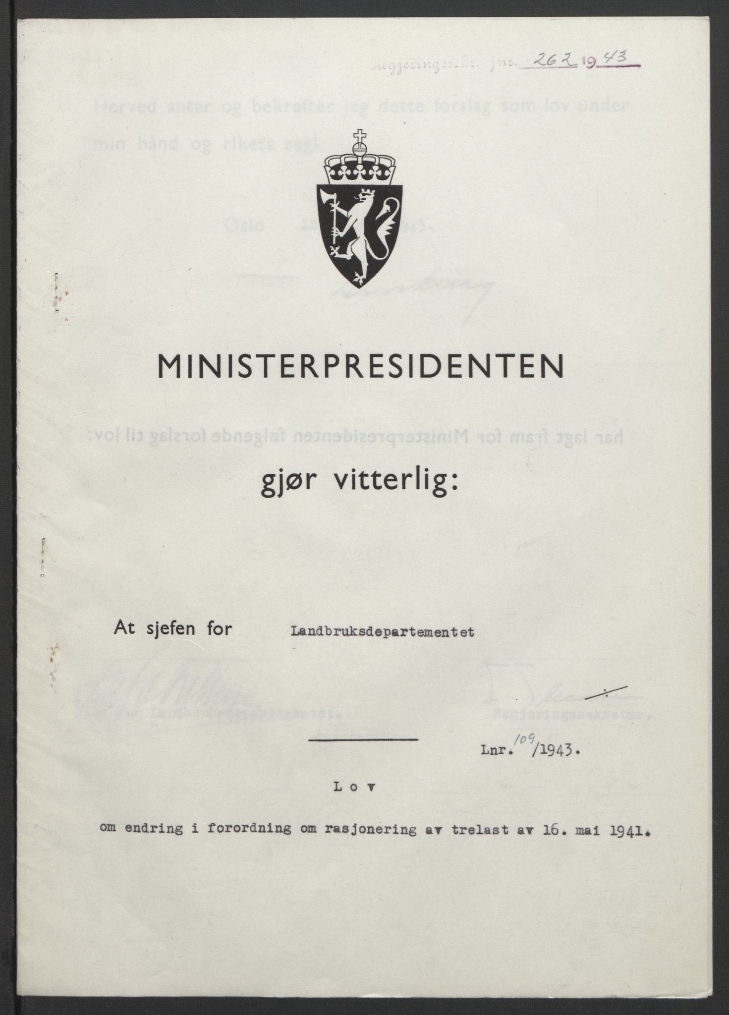 RA, NS-administrasjonen 1940-1945 (Statsrådsekretariatet, de kommisariske statsråder mm), D/Db/L0099: Lover, 1943, s. 509