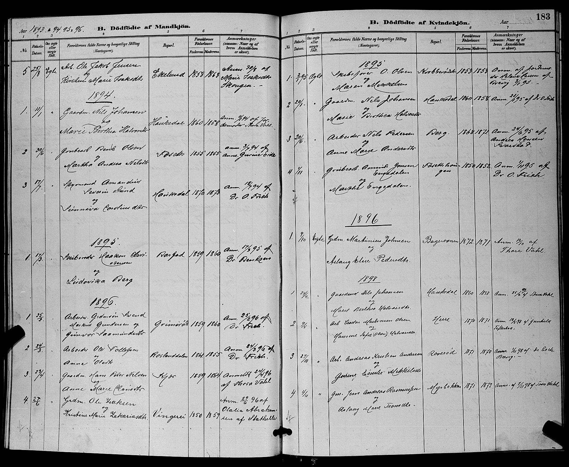 SAKO, Bamble kirkebøker, G/Ga/L0009: Klokkerbok nr. I 9, 1888-1900, s. 183