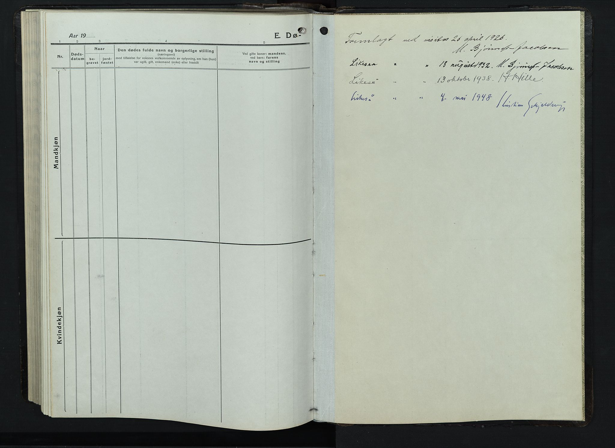 SAH, Balke prestekontor, Klokkerbok nr. 1, 1920-1955