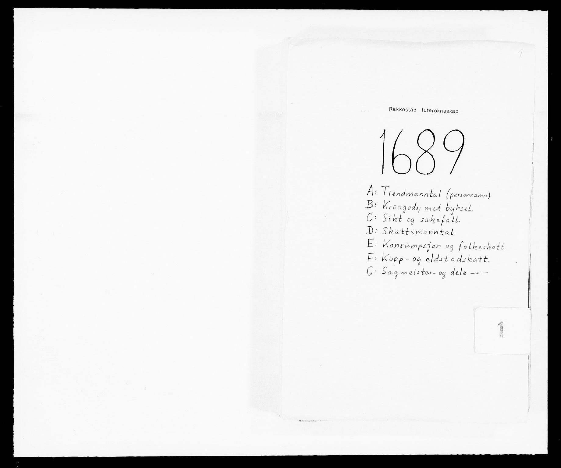 RA, Rentekammeret inntil 1814, Reviderte regnskaper, Fogderegnskap, R05/L0277: Fogderegnskap Rakkestad, 1689-1690, s. 1