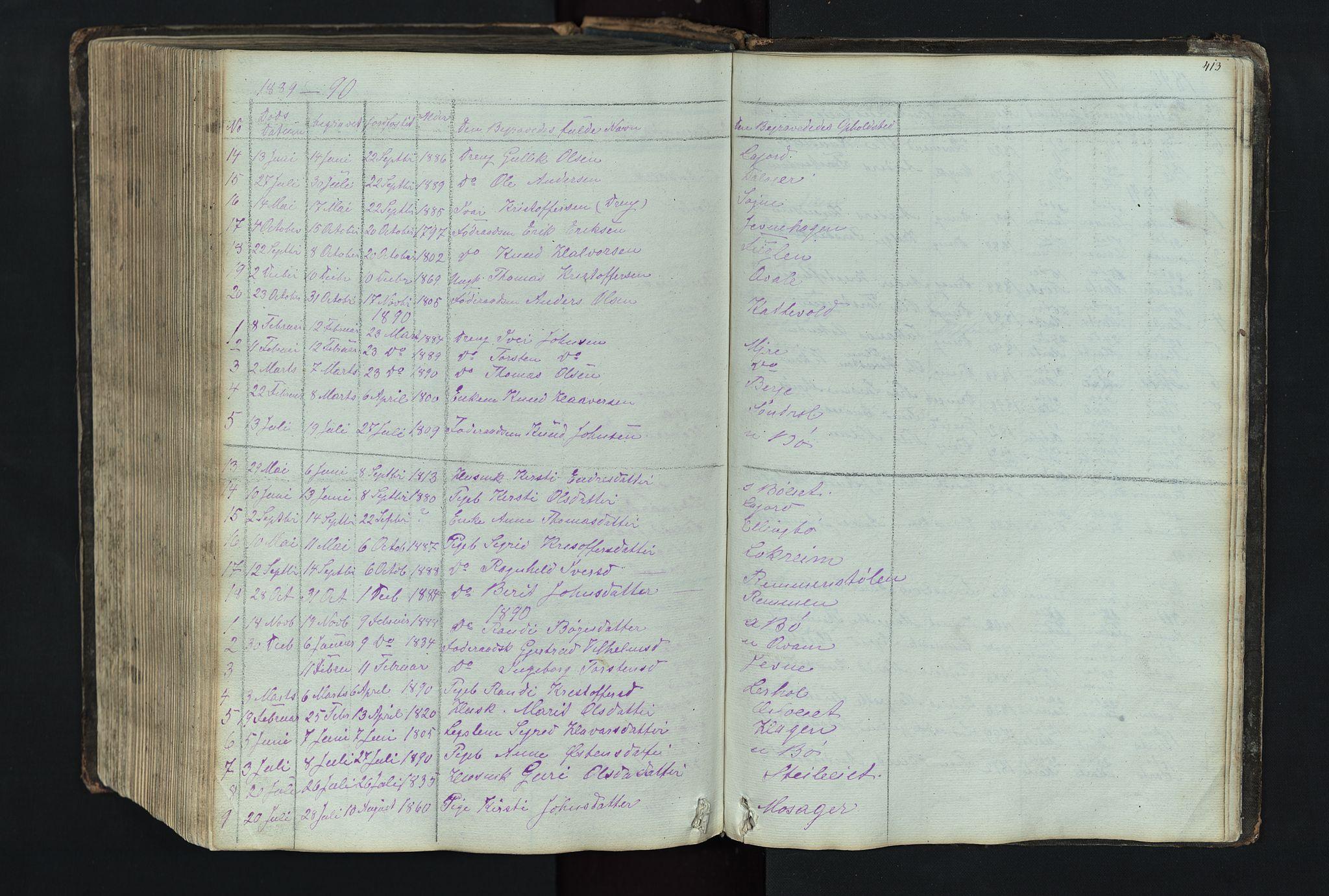 SAH, Vang prestekontor, Valdres, Klokkerbok nr. 4, 1835-1892, s. 413