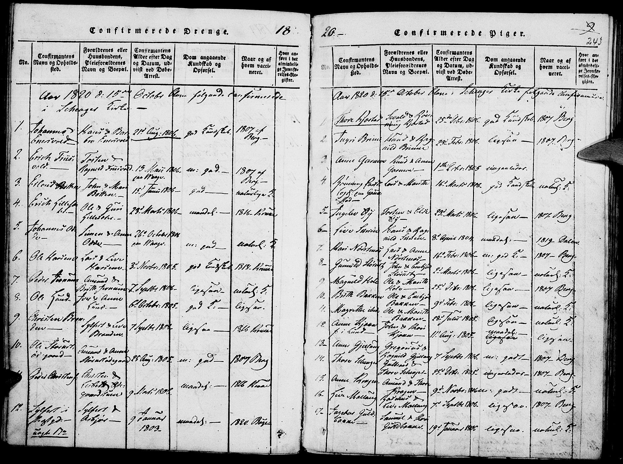 SAH, Lom prestekontor, K/L0004: Ministerialbok nr. 4, 1815-1825, s. 243