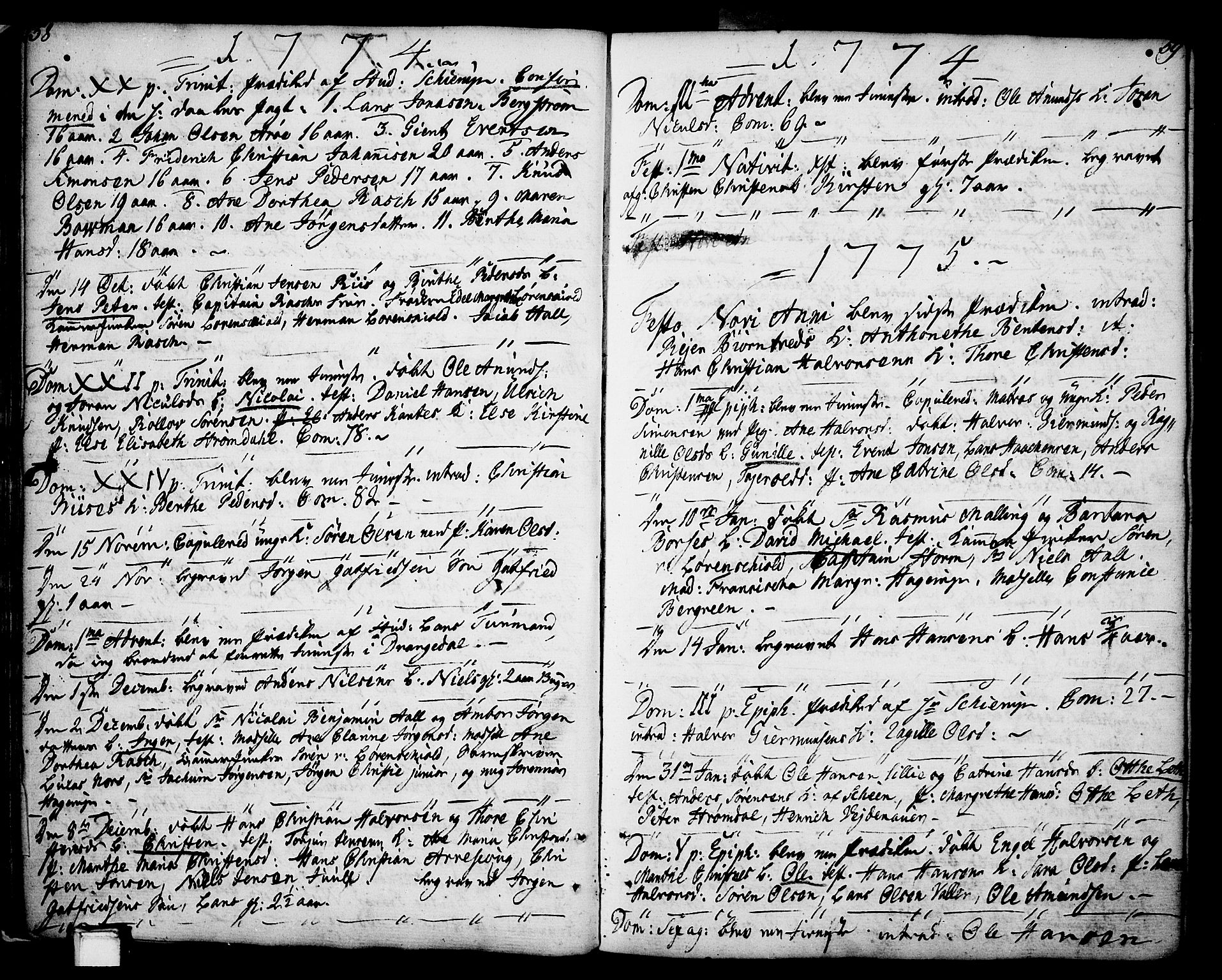 SAKO, Porsgrunn kirkebøker , F/Fa/L0002: Ministerialbok nr. 2, 1764-1814, s. 58-59