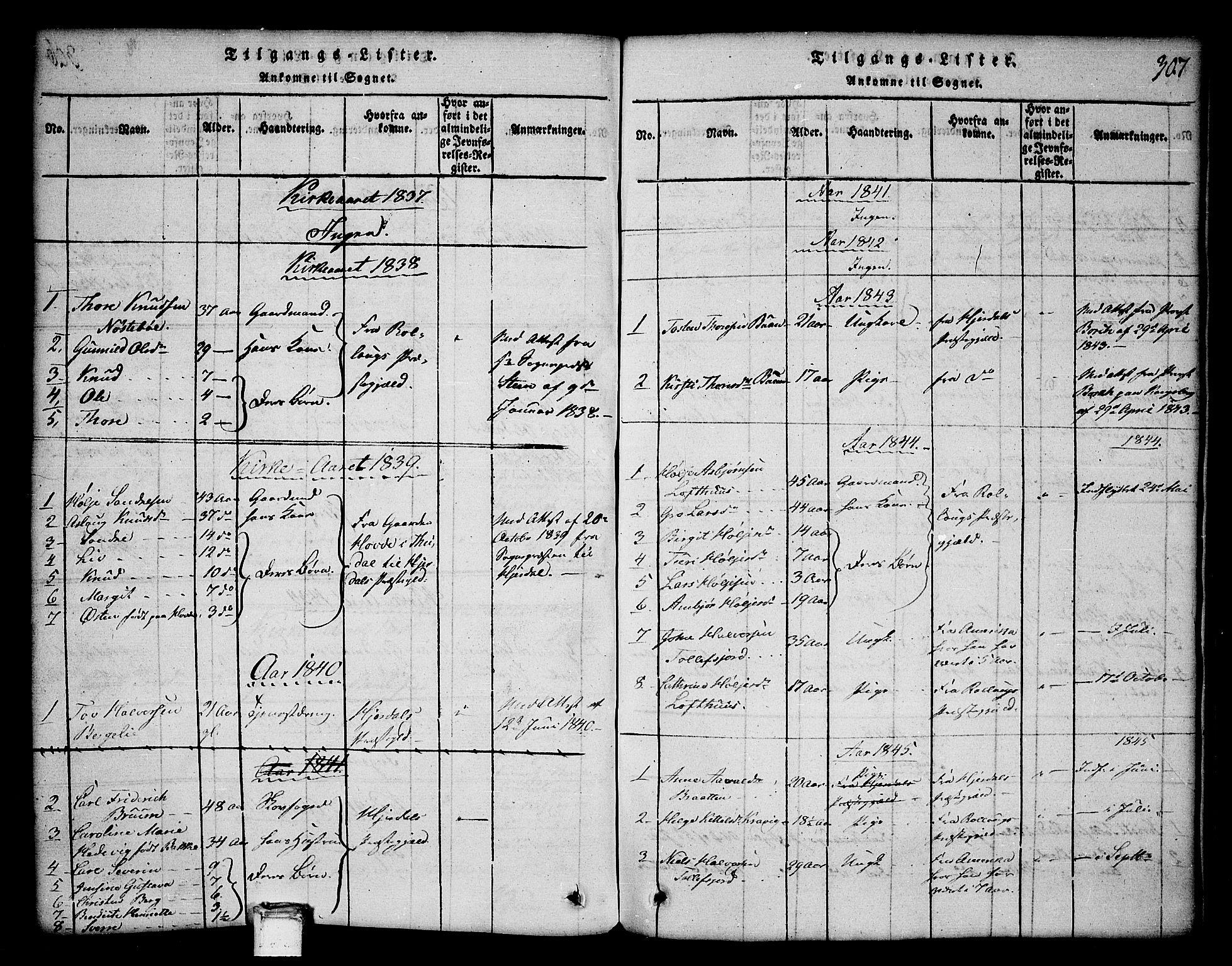 SAKO, Tinn kirkebøker, G/Ga/L0001: Klokkerbok nr. I 1, 1815-1850, s. 307