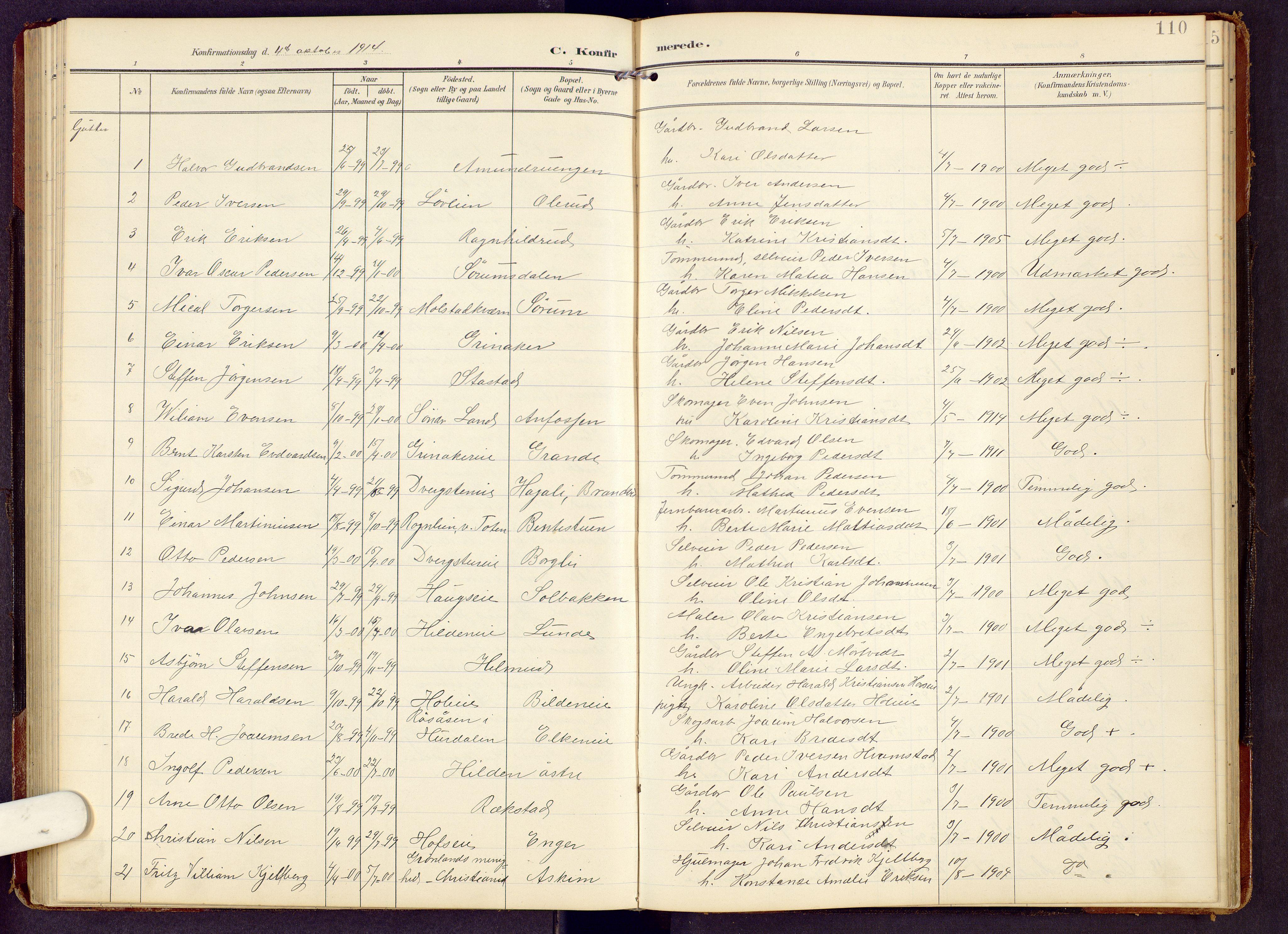 SAH, Brandbu prestekontor, Klokkerbok nr. 9, 1903-1916, s. 110