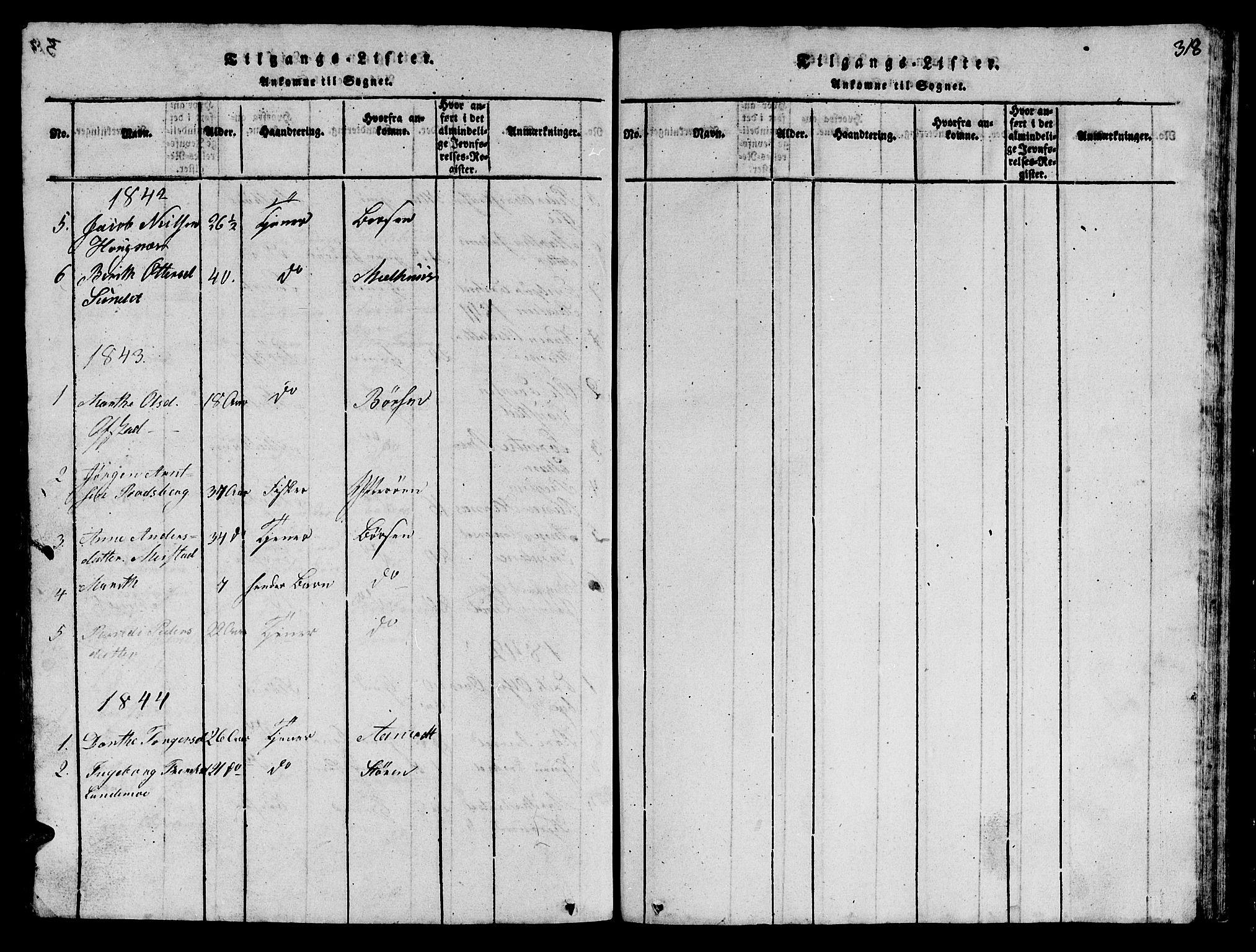 SAT, Ministerialprotokoller, klokkerbøker og fødselsregistre - Sør-Trøndelag, 612/L0385: Klokkerbok nr. 612C01, 1816-1845, s. 318