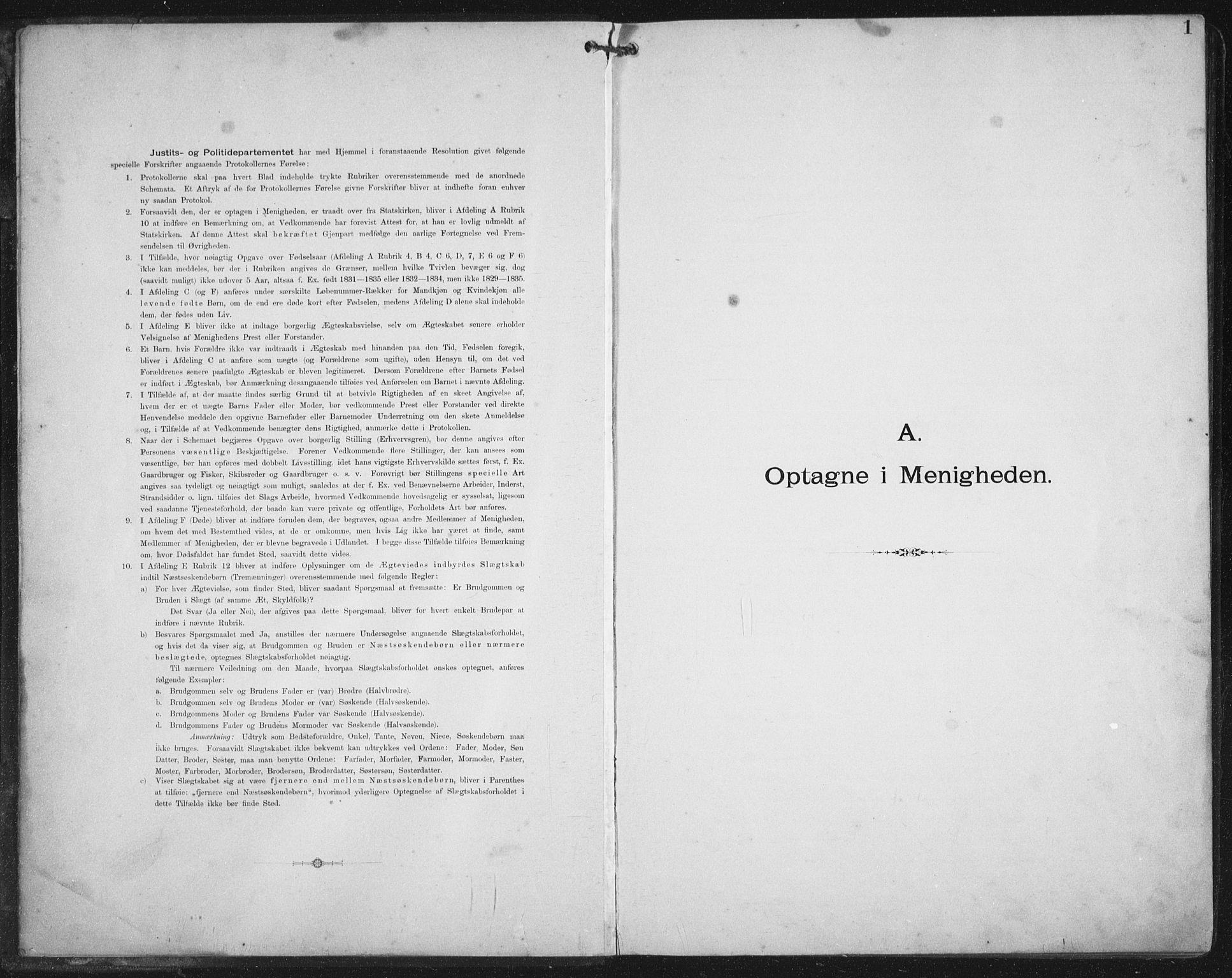 SAT, Ministerialprotokoller, klokkerbøker og fødselsregistre - Nordland, 881/L1174: Dissenterprotokoll nr. 881D01, 1891-1933, s. 1