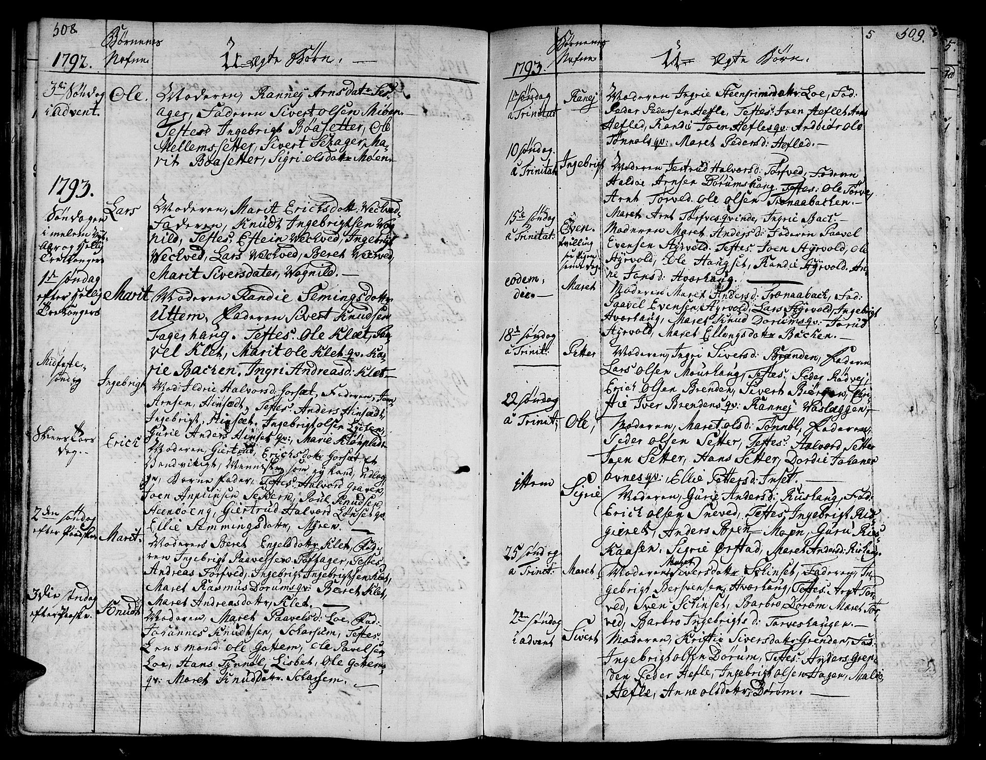 SAT, Ministerialprotokoller, klokkerbøker og fødselsregistre - Sør-Trøndelag, 678/L0893: Ministerialbok nr. 678A03, 1792-1805, s. 508-509
