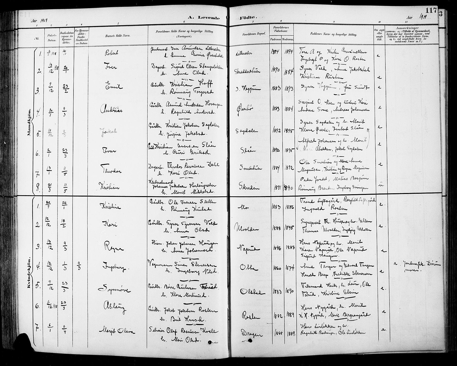 SAH, Sel prestekontor, Klokkerbok nr. 1, 1894-1923, s. 117
