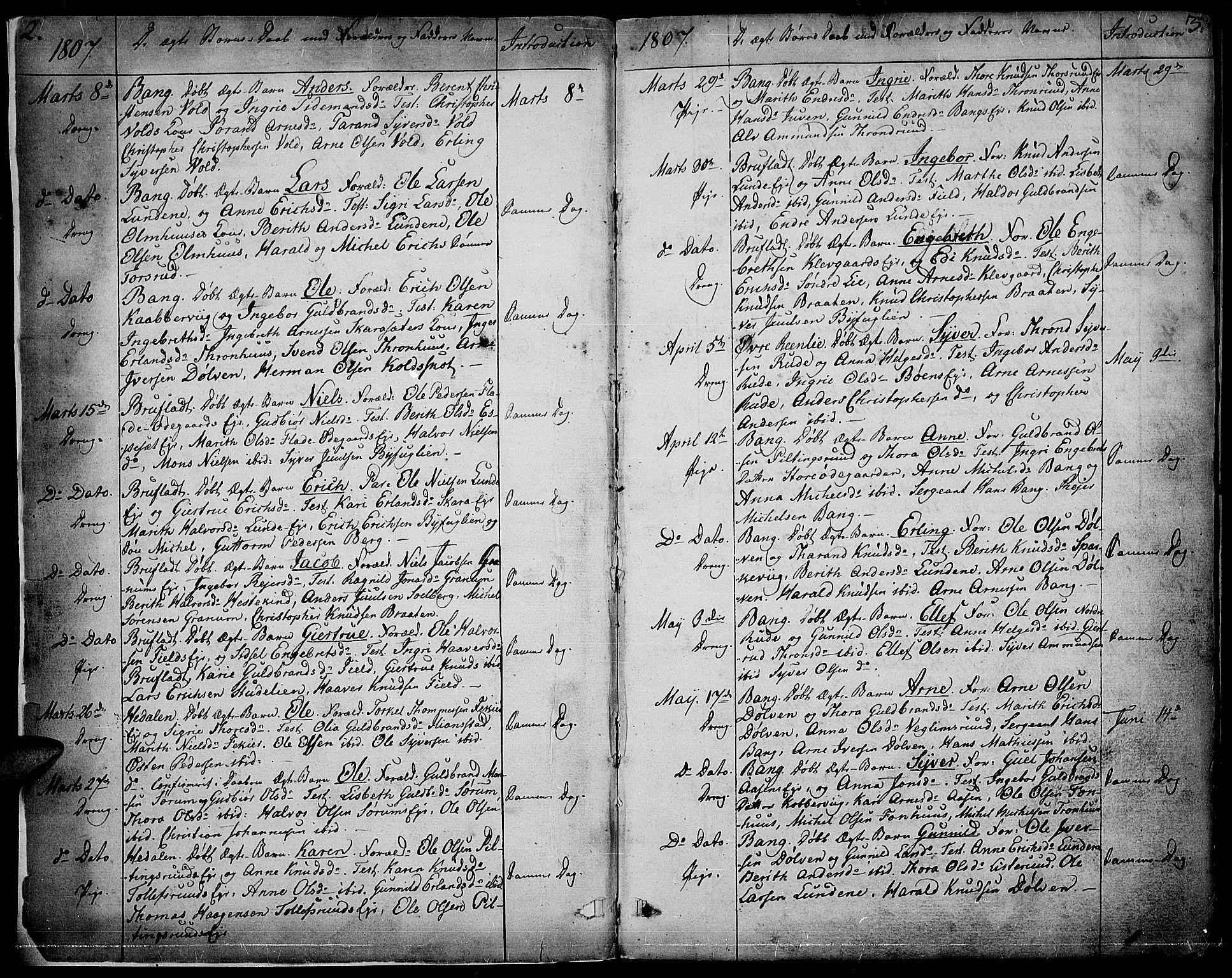 SAH, Sør-Aurdal prestekontor, Ministerialbok nr. 1, 1807-1815, s. 2-3