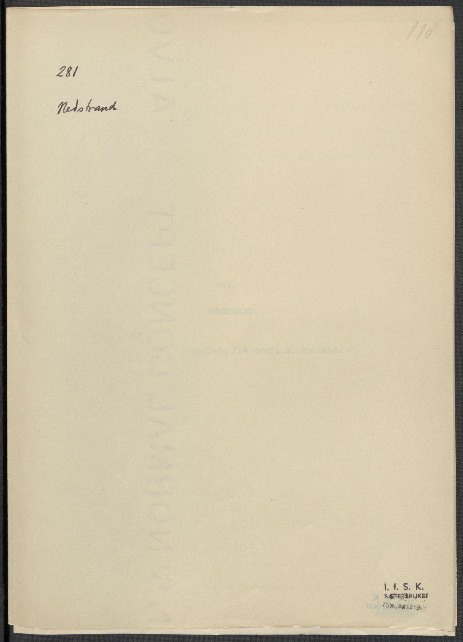 RA, Instituttet for sammenlignende kulturforskning, F/Fc/L0009: Eske B9:, 1932-1935, s. 110