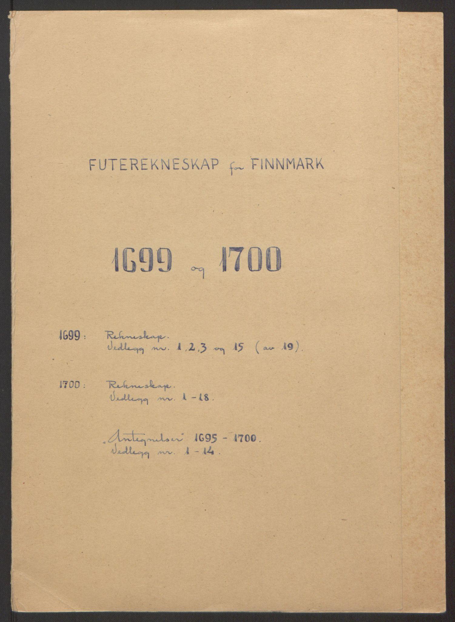 RA, Rentekammeret inntil 1814, Reviderte regnskaper, Fogderegnskap, R69/L4851: Fogderegnskap Finnmark/Vardøhus, 1691-1700, s. 376