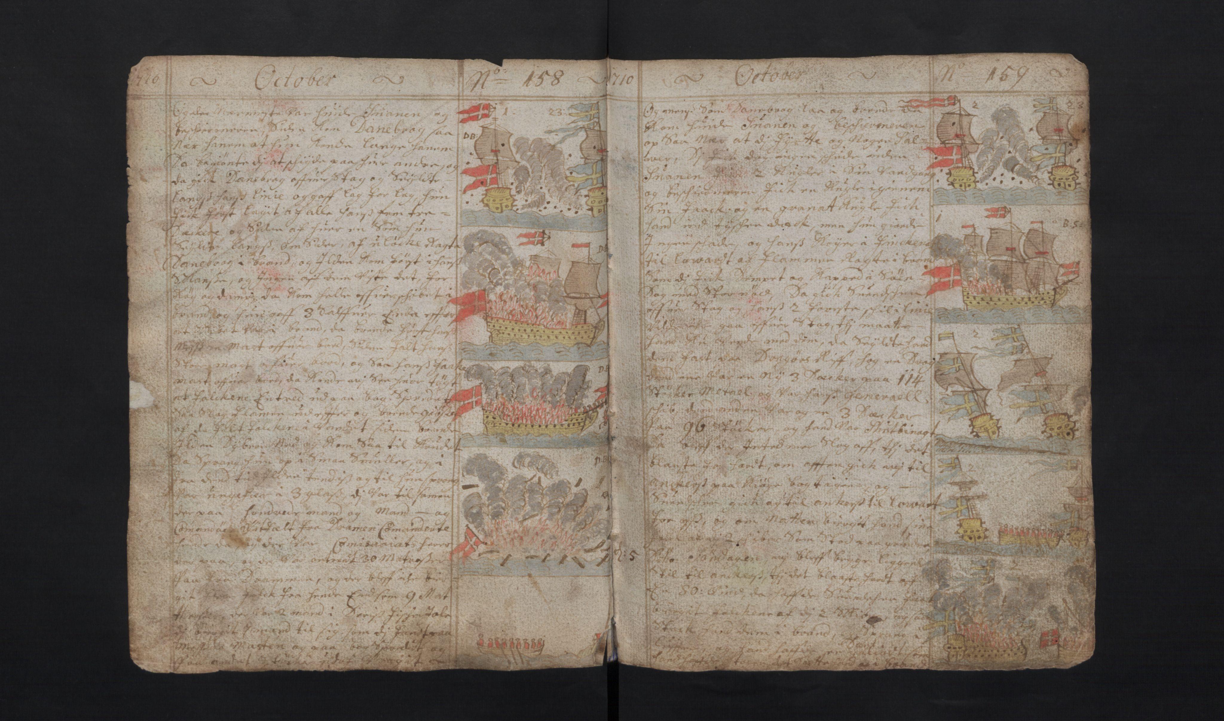RA, Manuskriptsamlingen, G/L0048a: Nils Trosners dagbok ført på flåten 1710-1713 bd. I, 1710-1713, s. 158-159