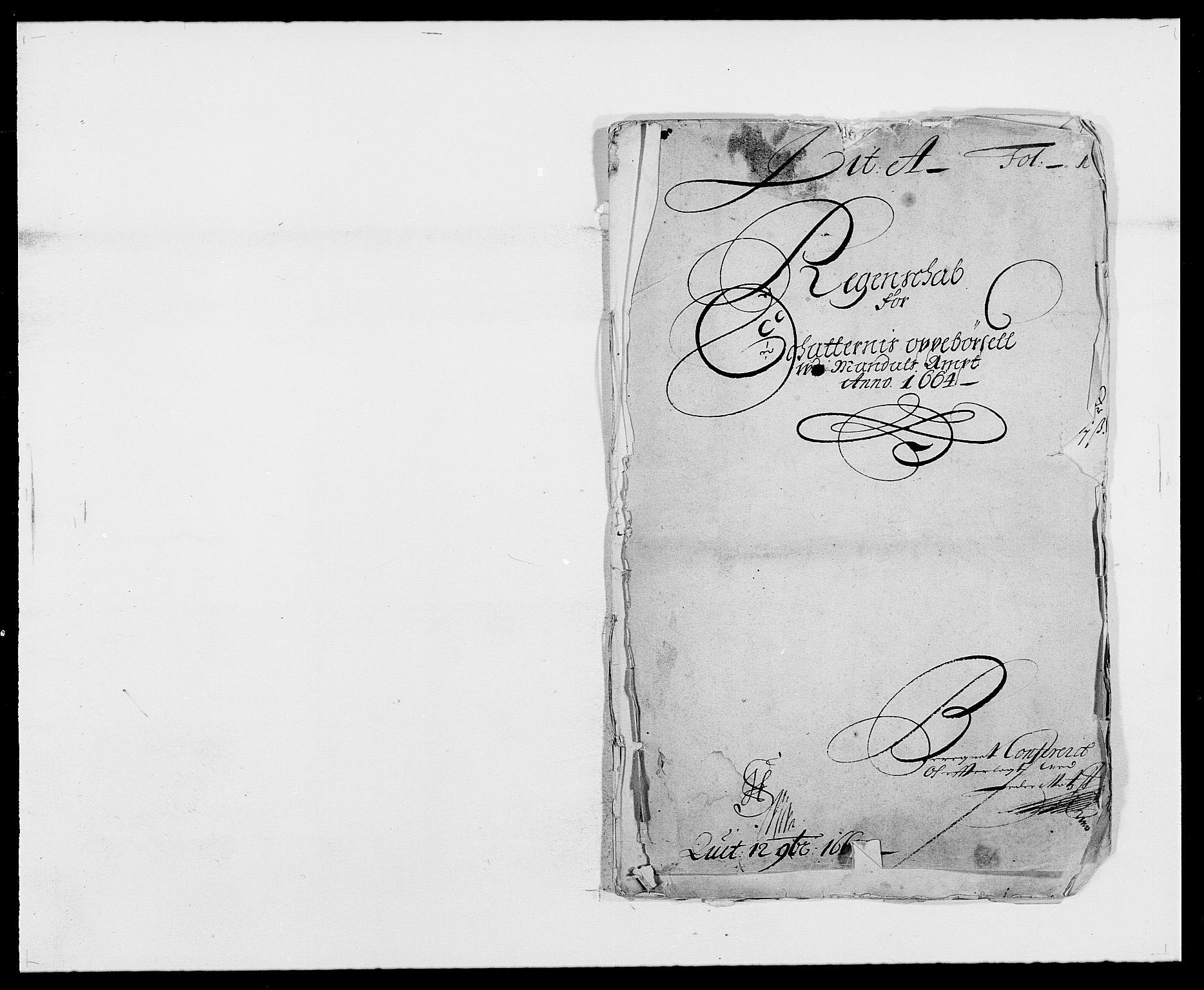RA, Rentekammeret inntil 1814, Reviderte regnskaper, Fogderegnskap, R42/L2537: Mandal fogderi, 1664-1666, s. 1