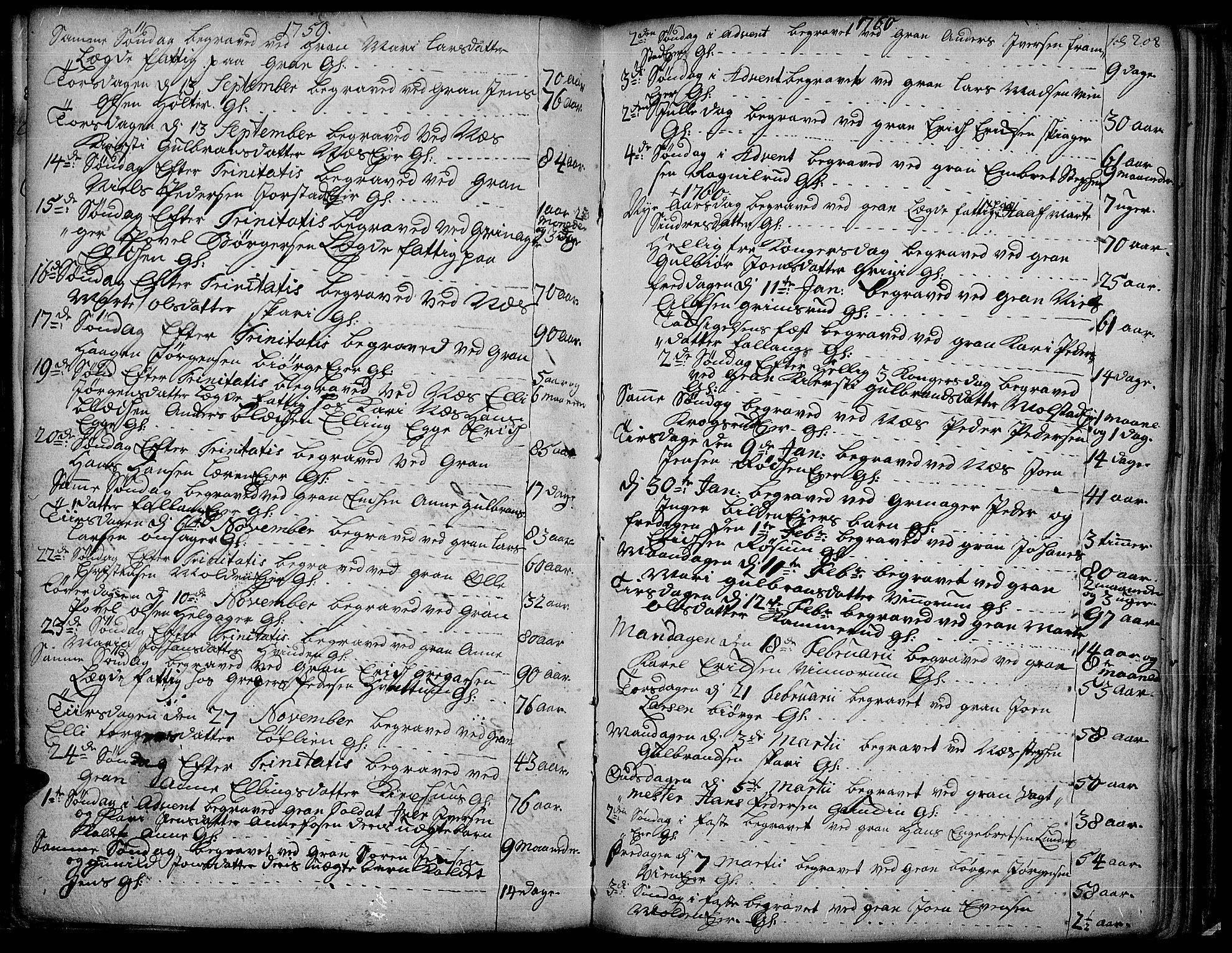 SAH, Gran prestekontor, Ministerialbok nr. 4, 1759-1775, s. 208