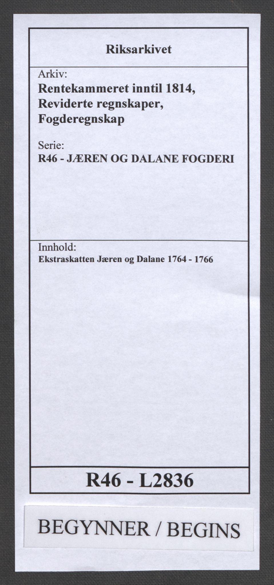 RA, Rentekammeret inntil 1814, Reviderte regnskaper, Fogderegnskap, R46/L2836: Ekstraskatten Jæren og Dalane, 1764-1766, s. 1