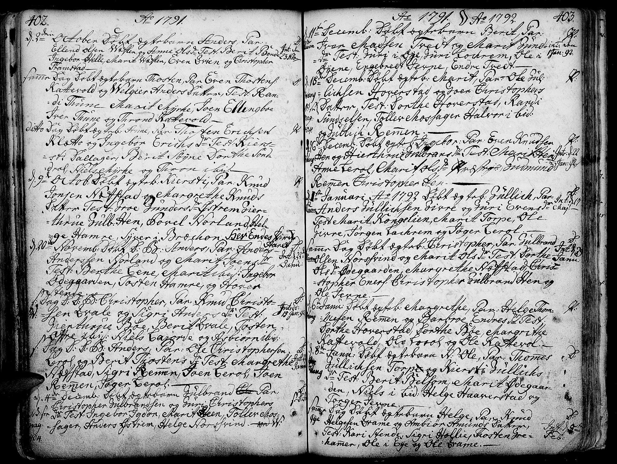 SAH, Vang prestekontor, Valdres, Ministerialbok nr. 1, 1730-1796, s. 402-403