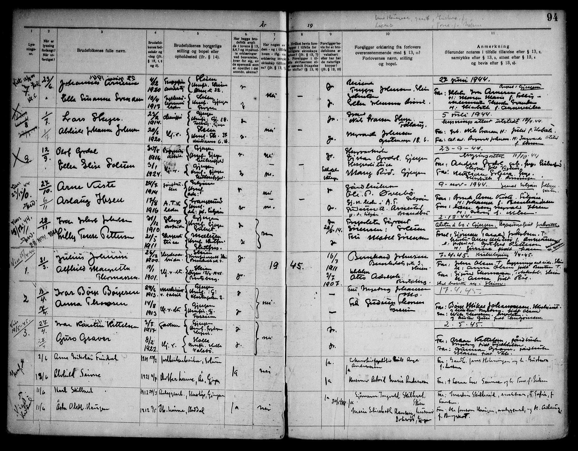 SAKO, Gjerpen kirkebøker, H/Ha/L0003: Lysningsprotokoll nr. I 3, 1919-1946, s. 94