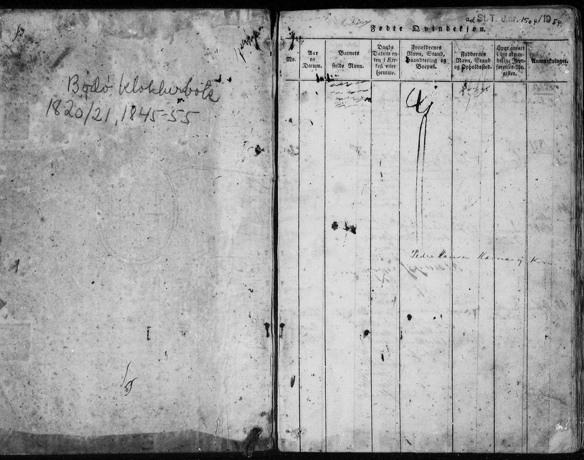 SAT, Ministerialprotokoller, klokkerbøker og fødselsregistre - Nordland, 801/L0026: Klokkerbok nr. 801C01, 1820-1855, s. 0-1