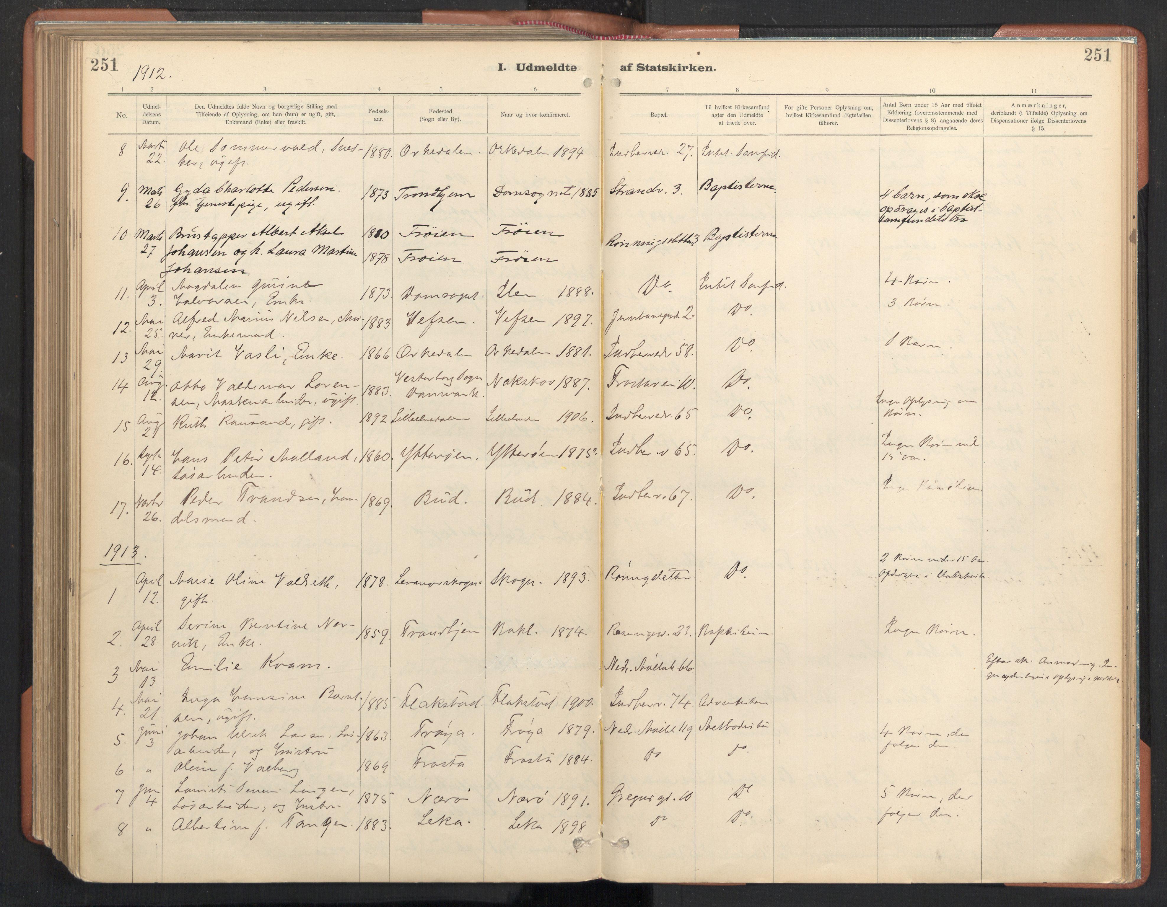 SAT, Ministerialprotokoller, klokkerbøker og fødselsregistre - Sør-Trøndelag, 605/L0244: Ministerialbok nr. 605A06, 1908-1954, s. 251