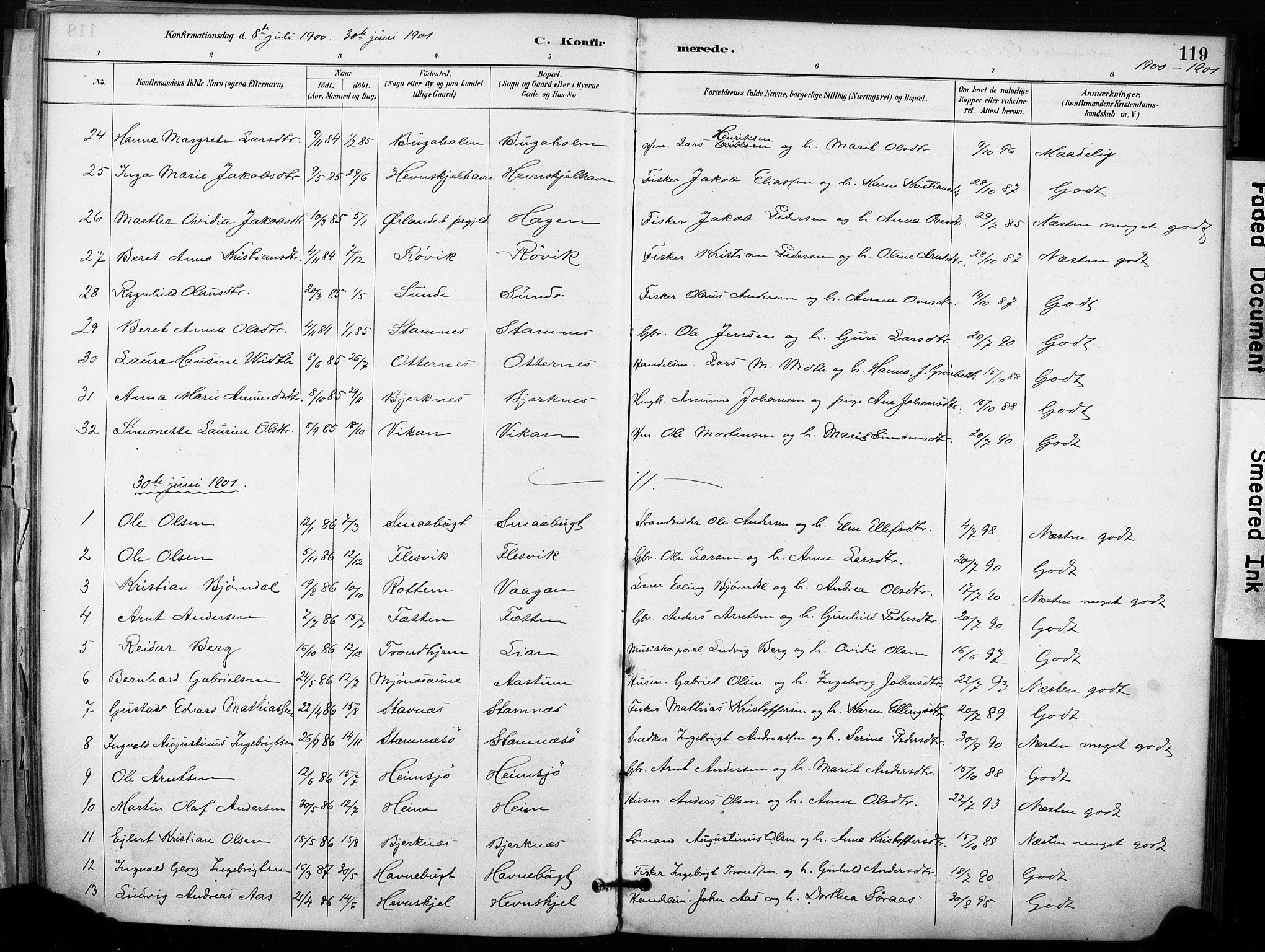 SAT, Ministerialprotokoller, klokkerbøker og fødselsregistre - Sør-Trøndelag, 633/L0518: Ministerialbok nr. 633A01, 1884-1906, s. 119