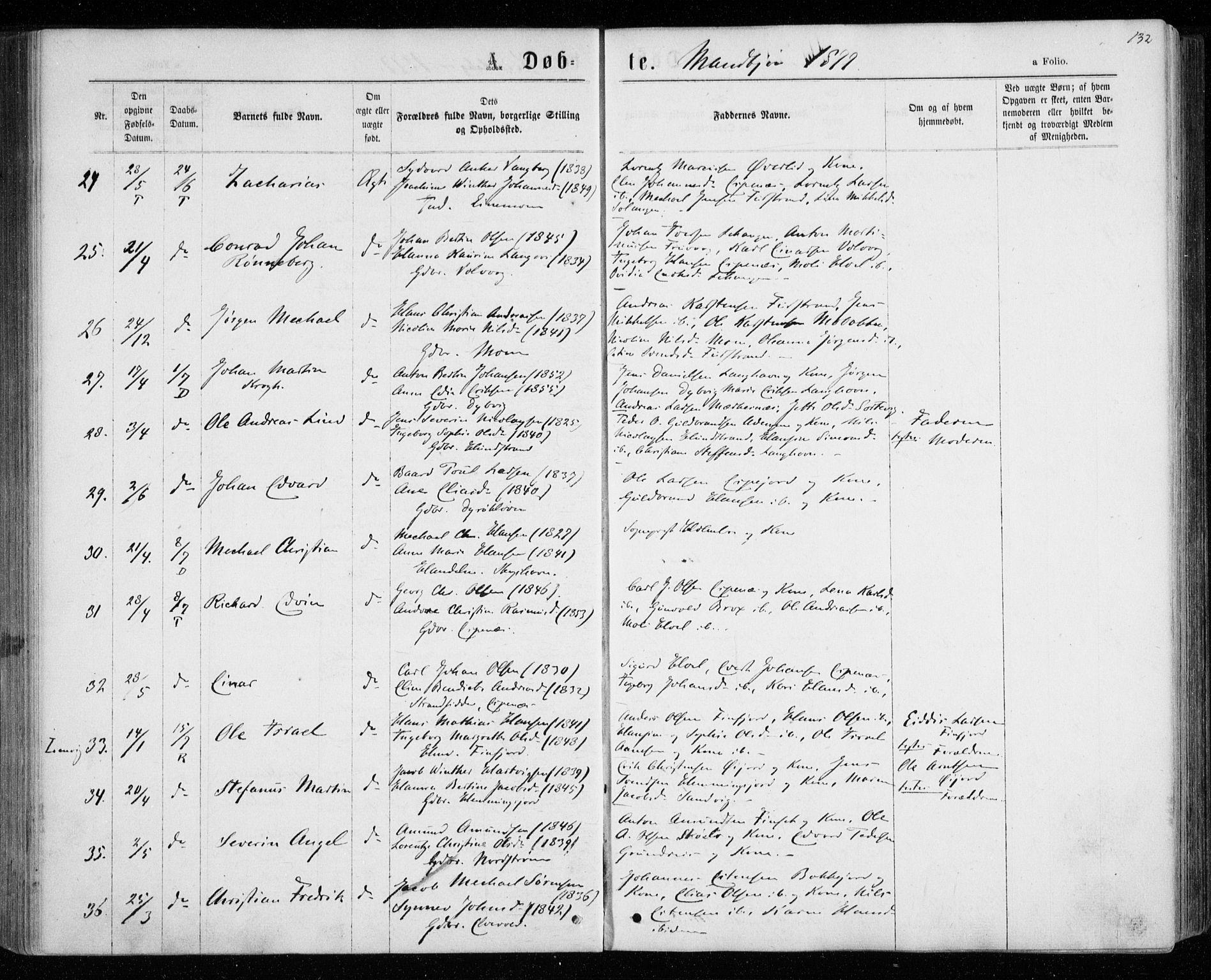 SATØ, Tranøy sokneprestkontor, I/Ia/Iaa/L0008kirke: Ministerialbok nr. 8, 1867-1877, s. 132