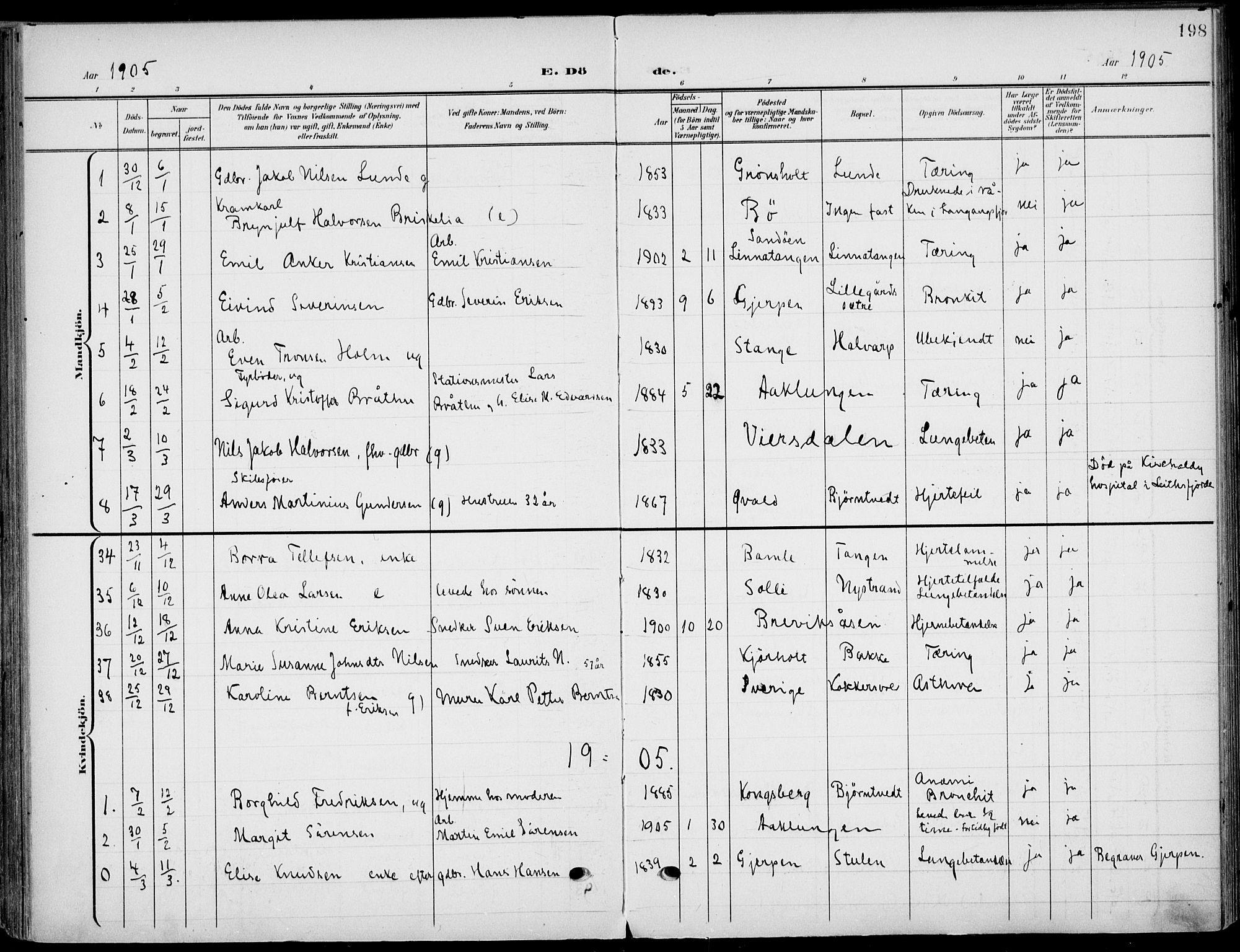 SAKO, Eidanger kirkebøker, F/Fa/L0013: Ministerialbok nr. 13, 1900-1913, s. 198