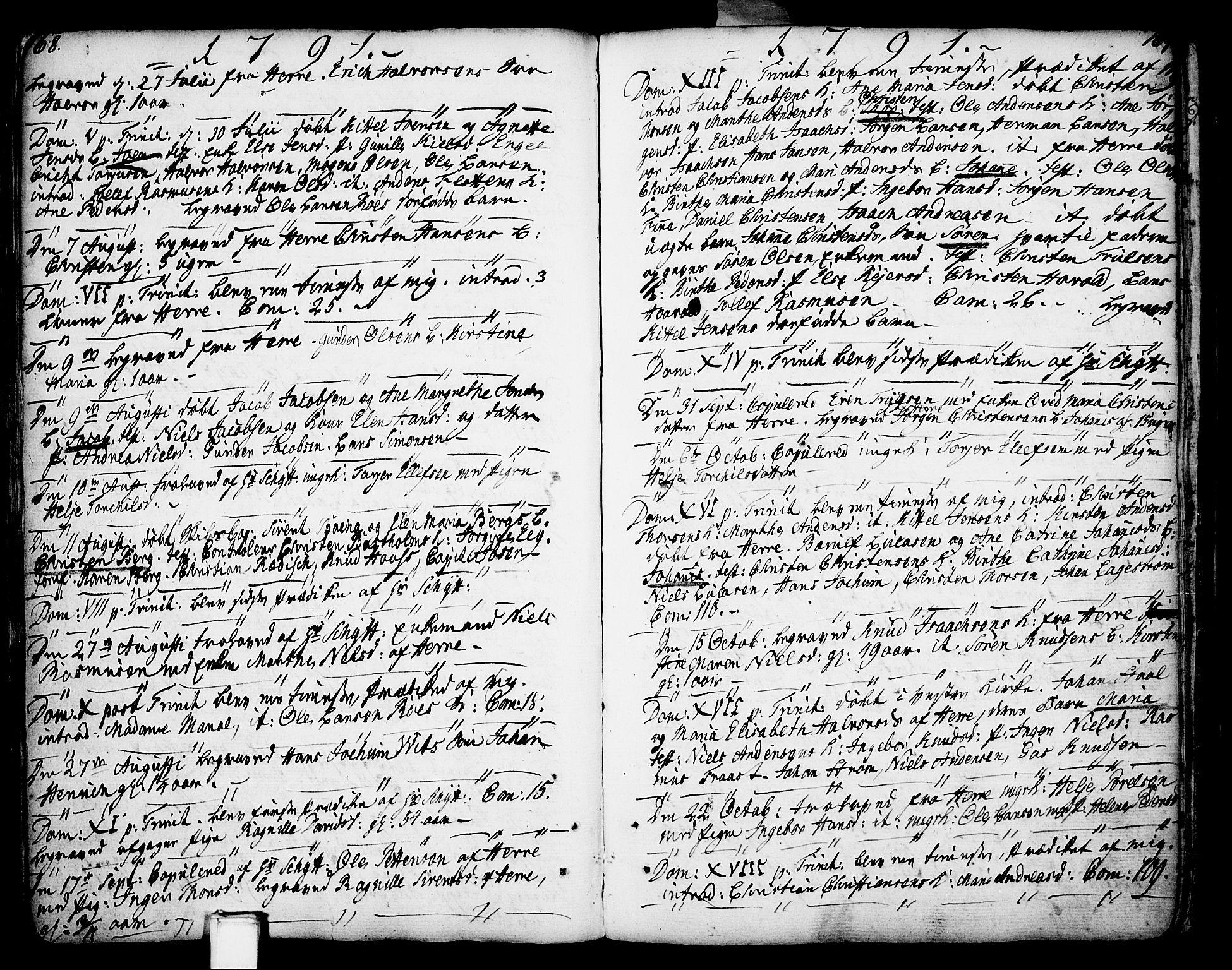 SAKO, Porsgrunn kirkebøker , F/Fa/L0002: Ministerialbok nr. 2, 1764-1814, s. 168-169