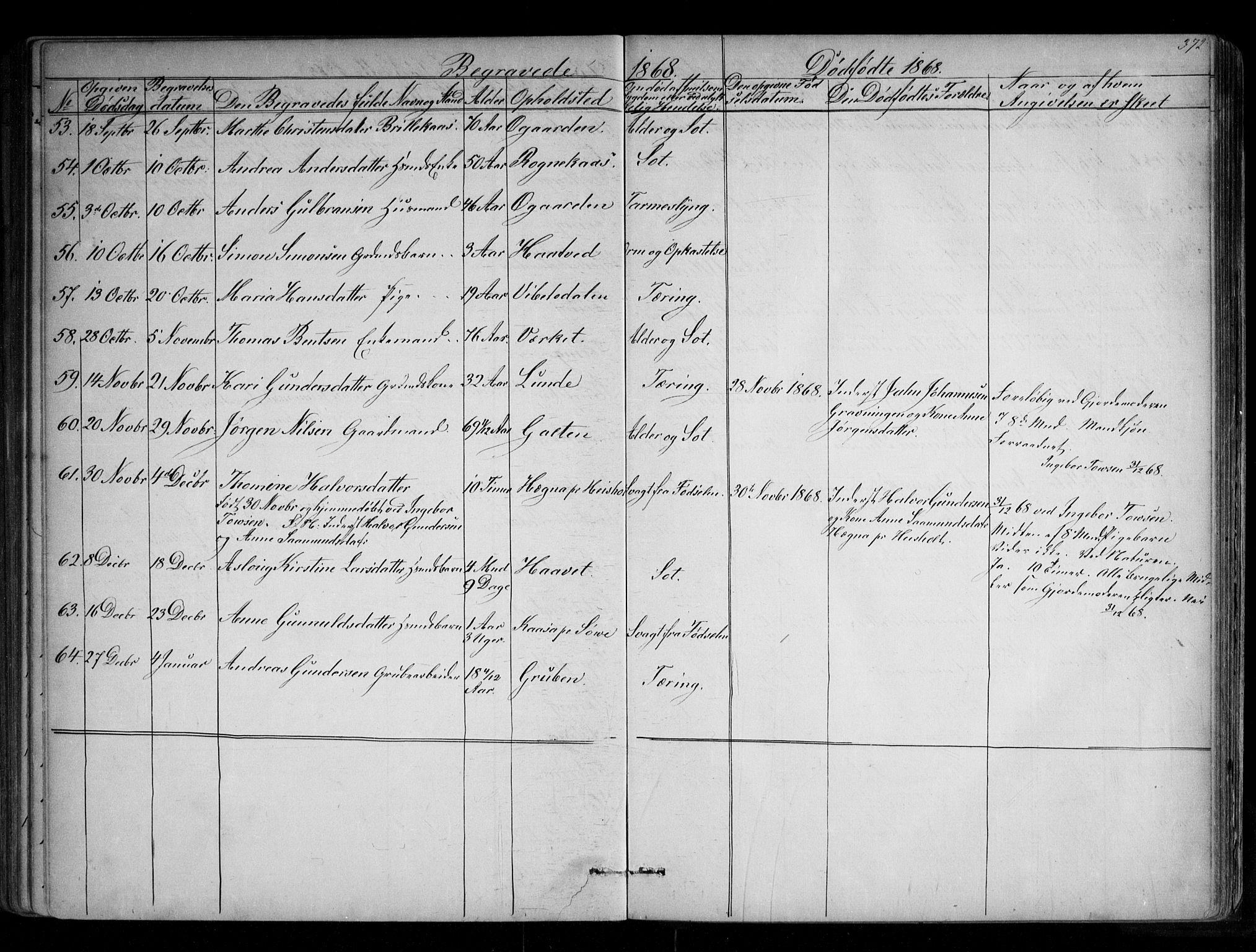 SAKO, Holla kirkebøker, G/Ga/L0004: Klokkerbok nr. I 4, 1867-1890, s. 372
