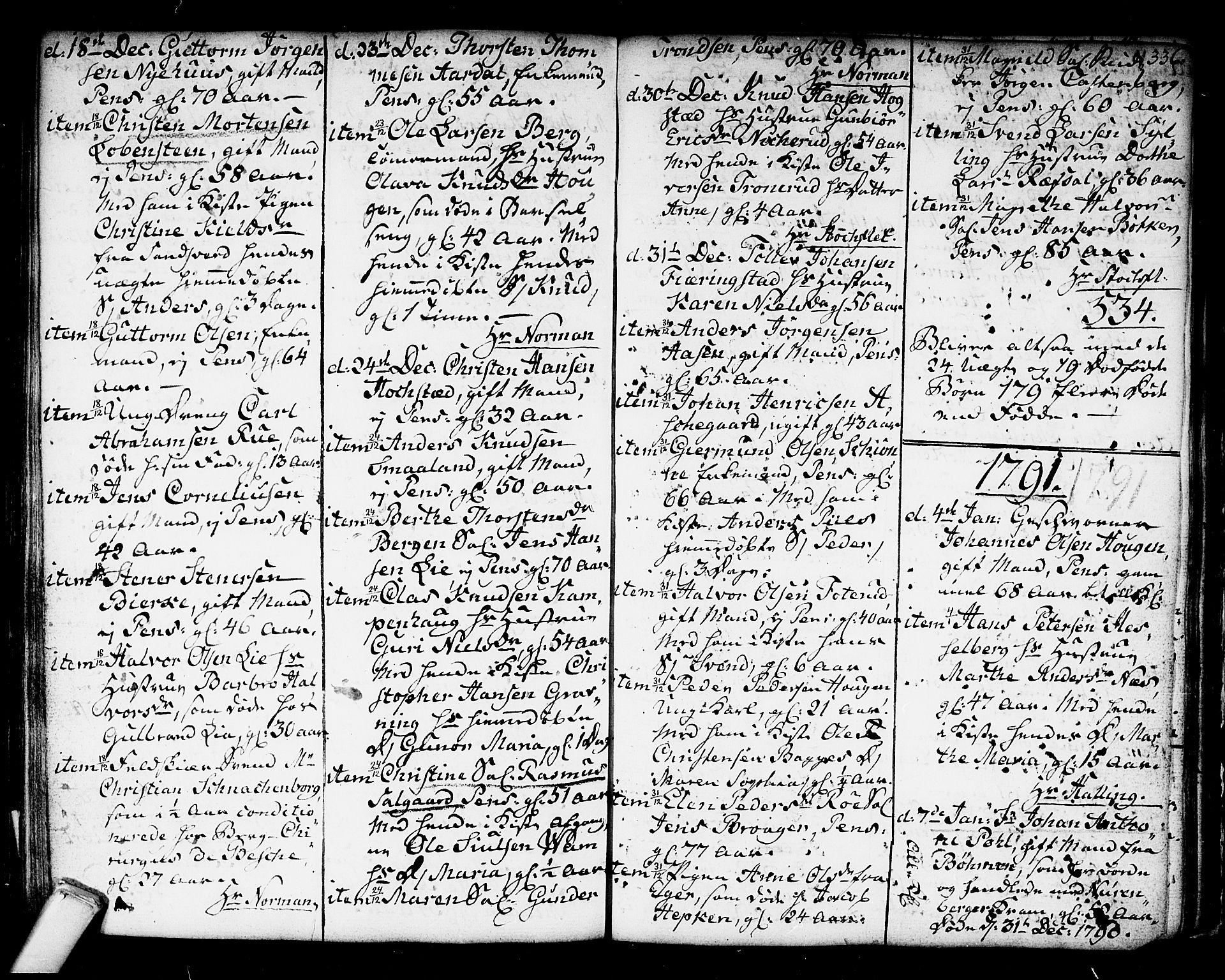 SAKO, Kongsberg kirkebøker, F/Fa/L0006: Ministerialbok nr. I 6, 1783-1797, s. 336