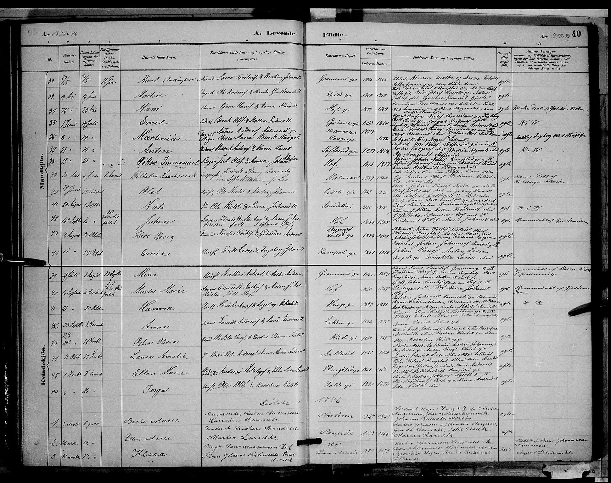 SAH, Søndre Land prestekontor, L/L0002: Klokkerbok nr. 2, 1884-1900, s. 40
