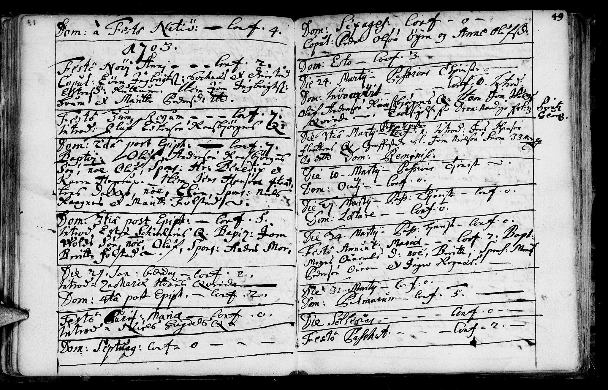 SAT, Ministerialprotokoller, klokkerbøker og fødselsregistre - Sør-Trøndelag, 687/L0990: Ministerialbok nr. 687A01, 1690-1746, s. 49