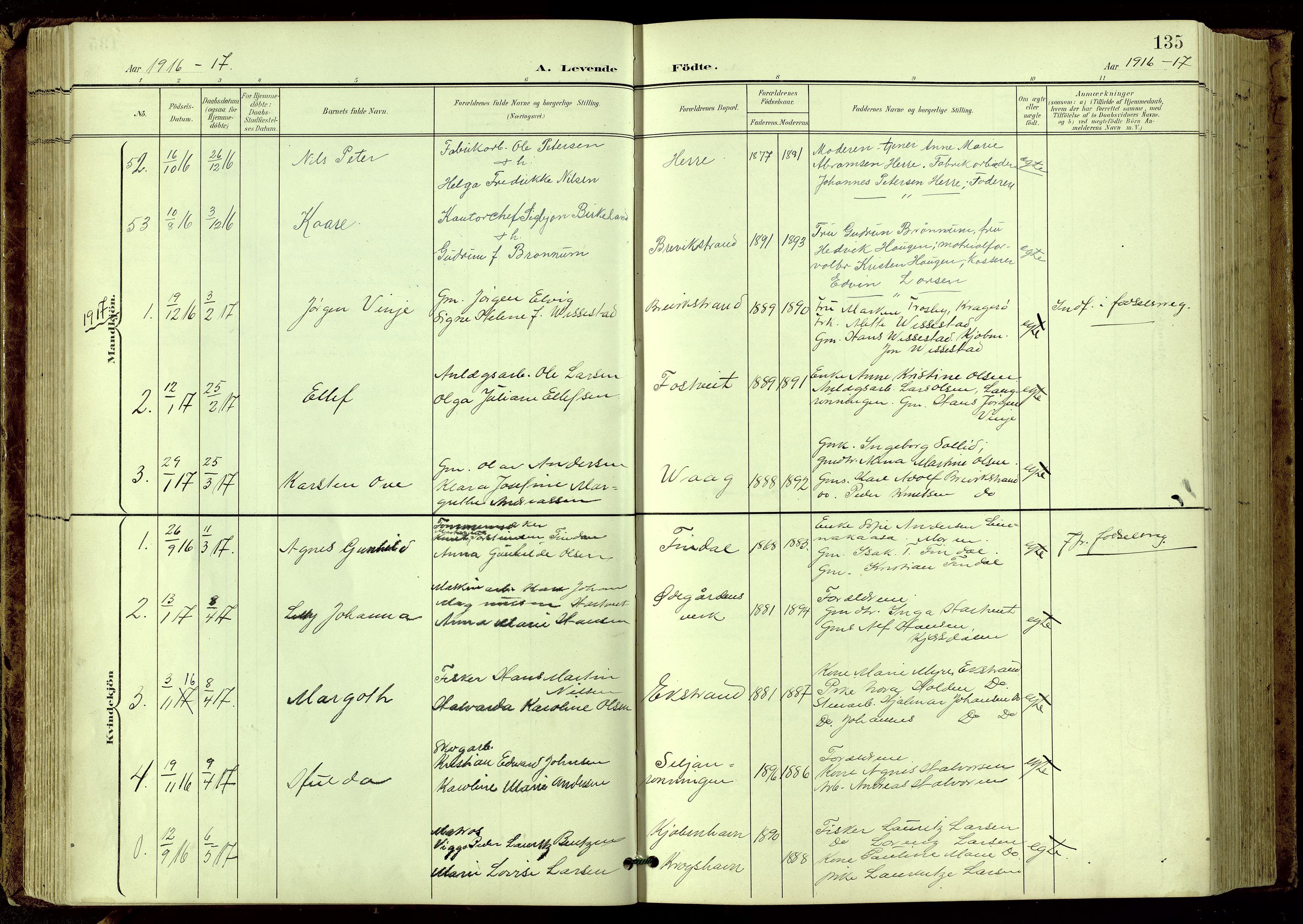 SAKO, Bamble kirkebøker, G/Ga/L0010: Klokkerbok nr. I 10, 1901-1919, s. 135