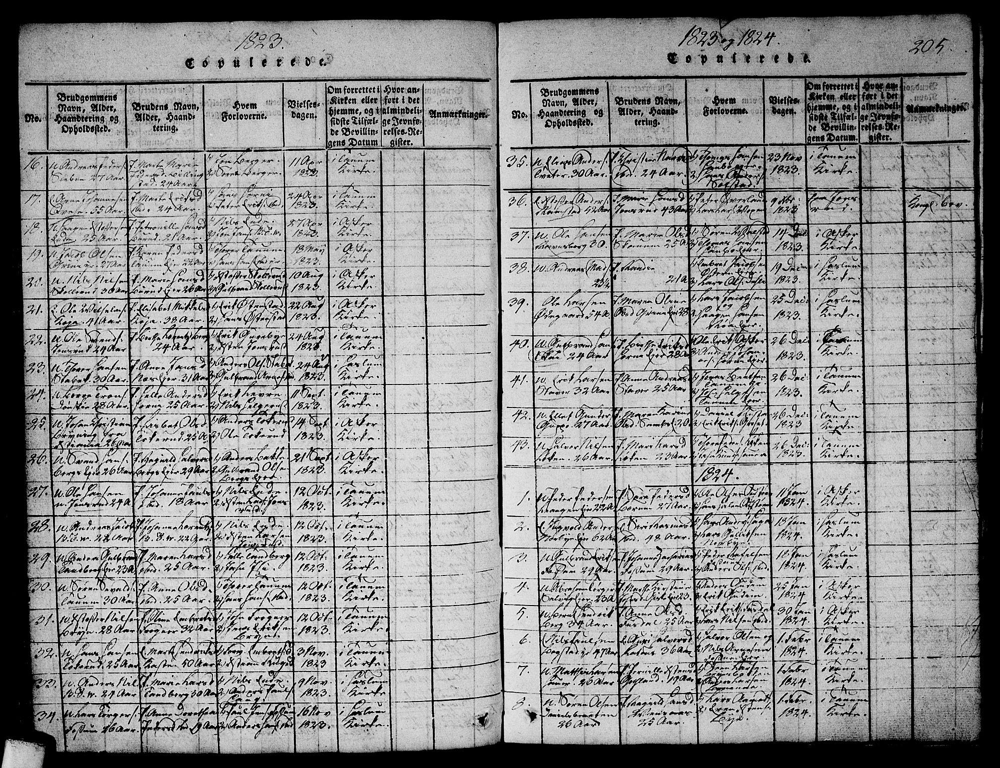 SAO, Asker prestekontor Kirkebøker, G/Ga/L0001: Klokkerbok nr. I 1, 1814-1830, s. 205