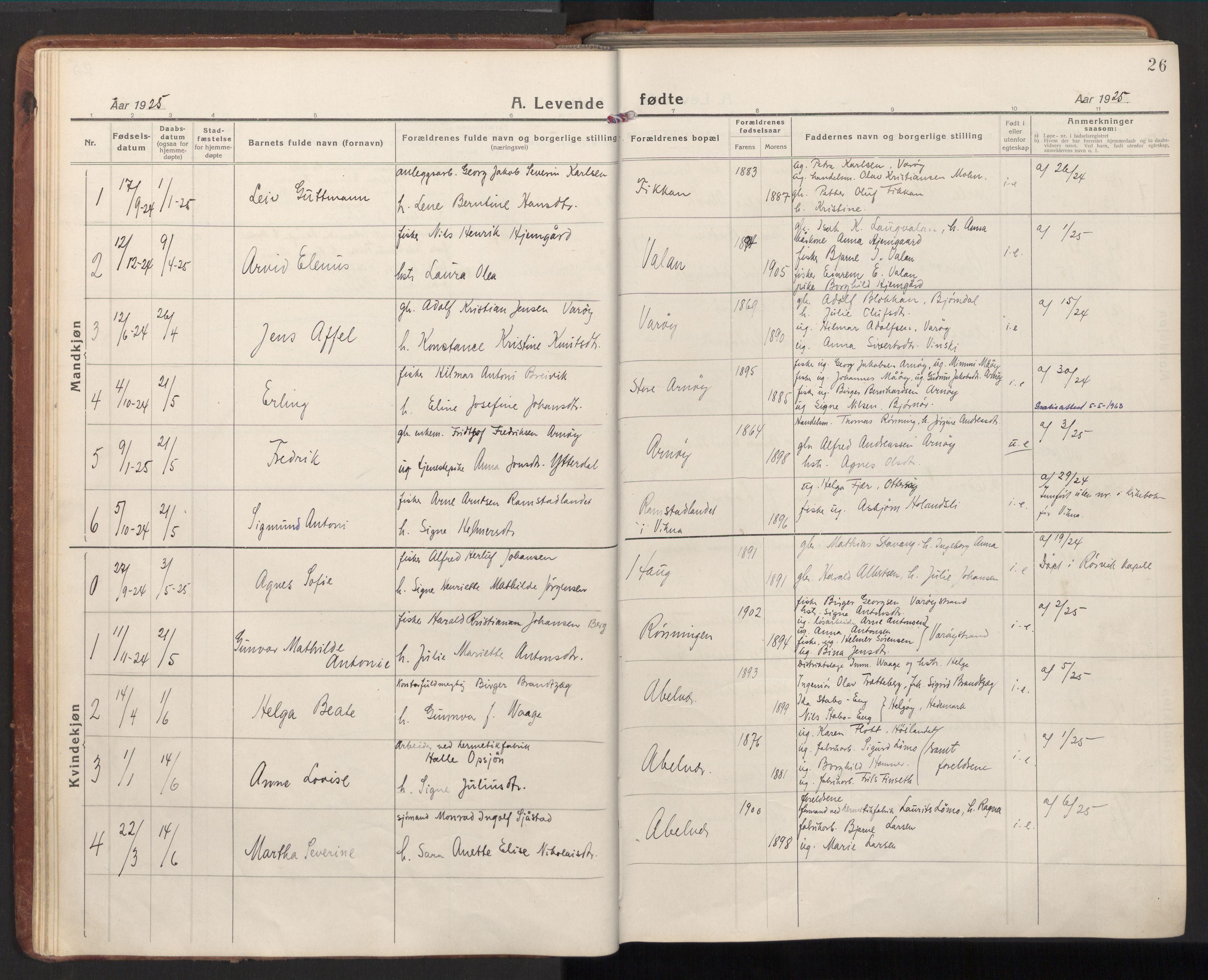 SAT, Ministerialprotokoller, klokkerbøker og fødselsregistre - Nord-Trøndelag, 784/L0678: Ministerialbok nr. 784A13, 1921-1938, s. 26