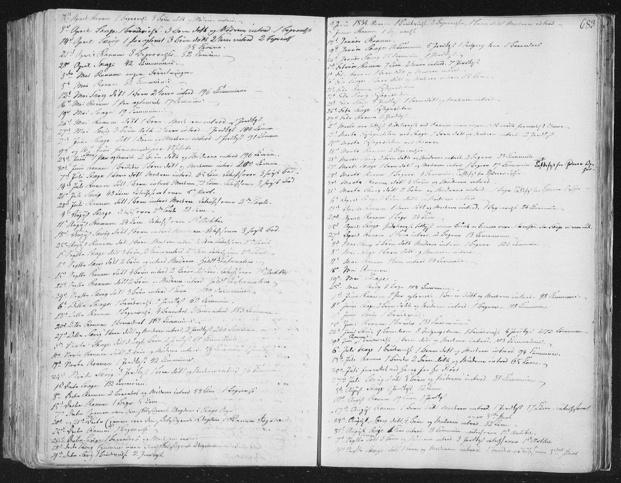 SAT, Ministerialprotokoller, klokkerbøker og fødselsregistre - Nord-Trøndelag, 764/L0552: Ministerialbok nr. 764A07b, 1824-1865, s. 683