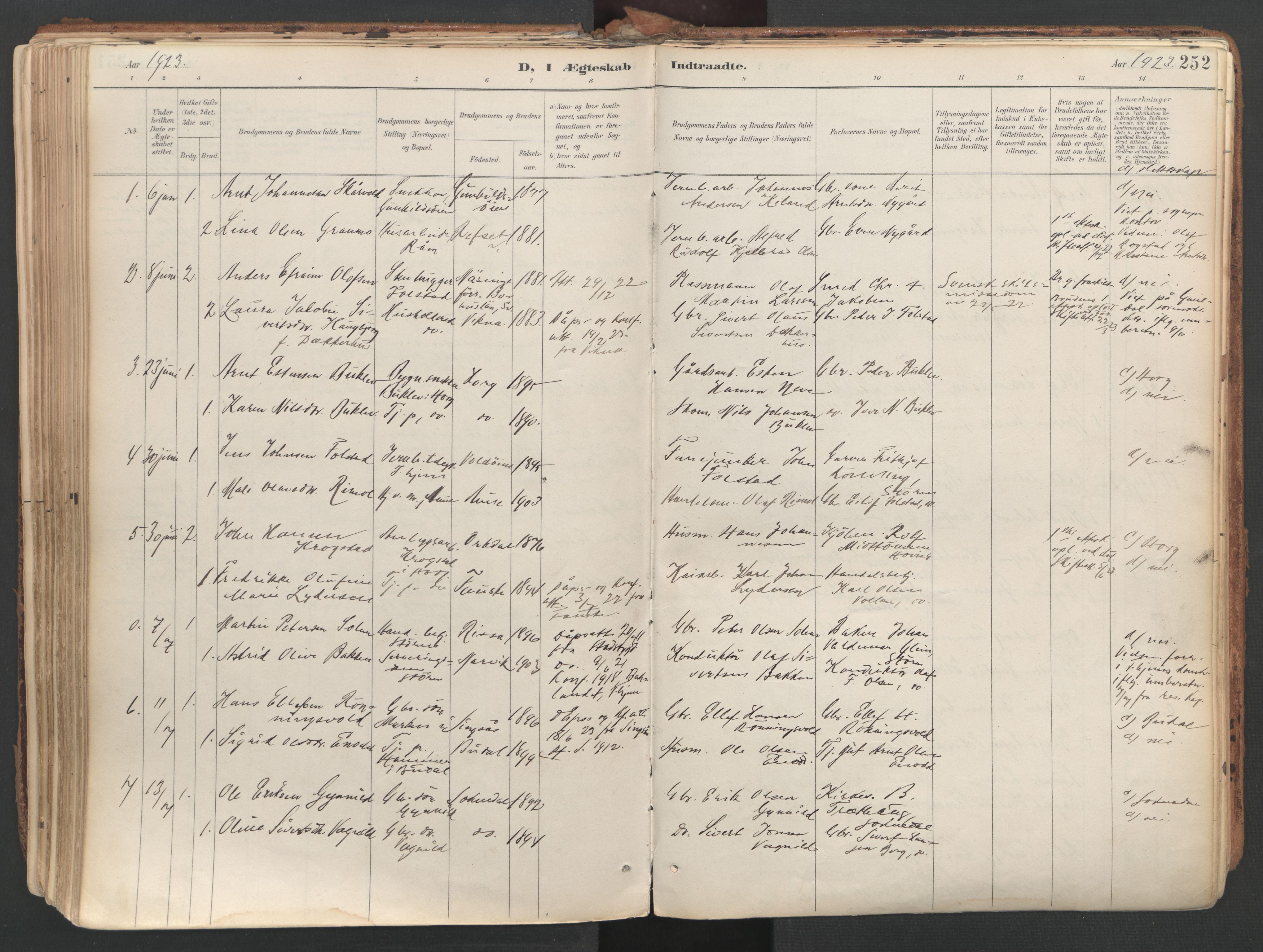 SAT, Ministerialprotokoller, klokkerbøker og fødselsregistre - Sør-Trøndelag, 687/L1004: Ministerialbok nr. 687A10, 1891-1923, s. 252