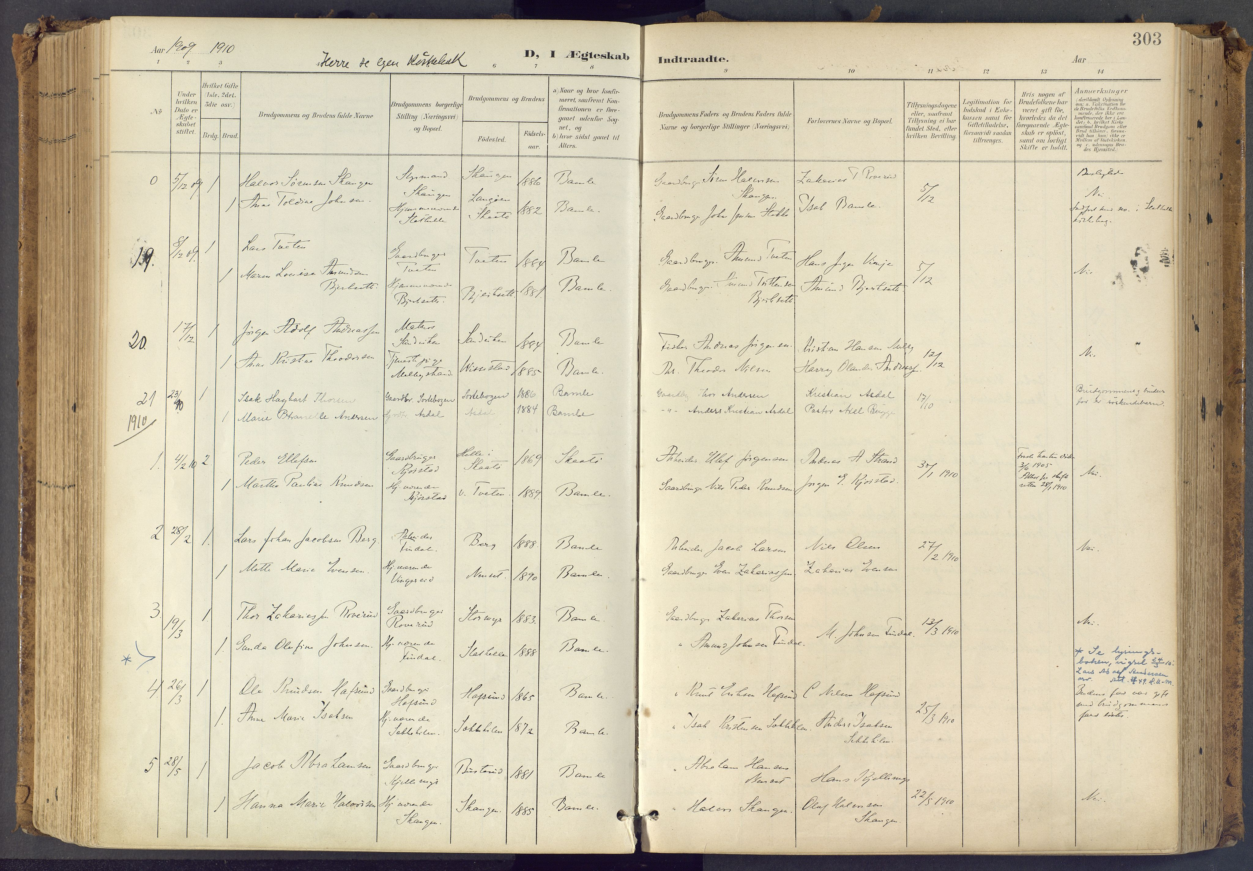 SAKO, Bamble kirkebøker, F/Fa/L0009: Ministerialbok nr. I 9, 1901-1917, s. 303