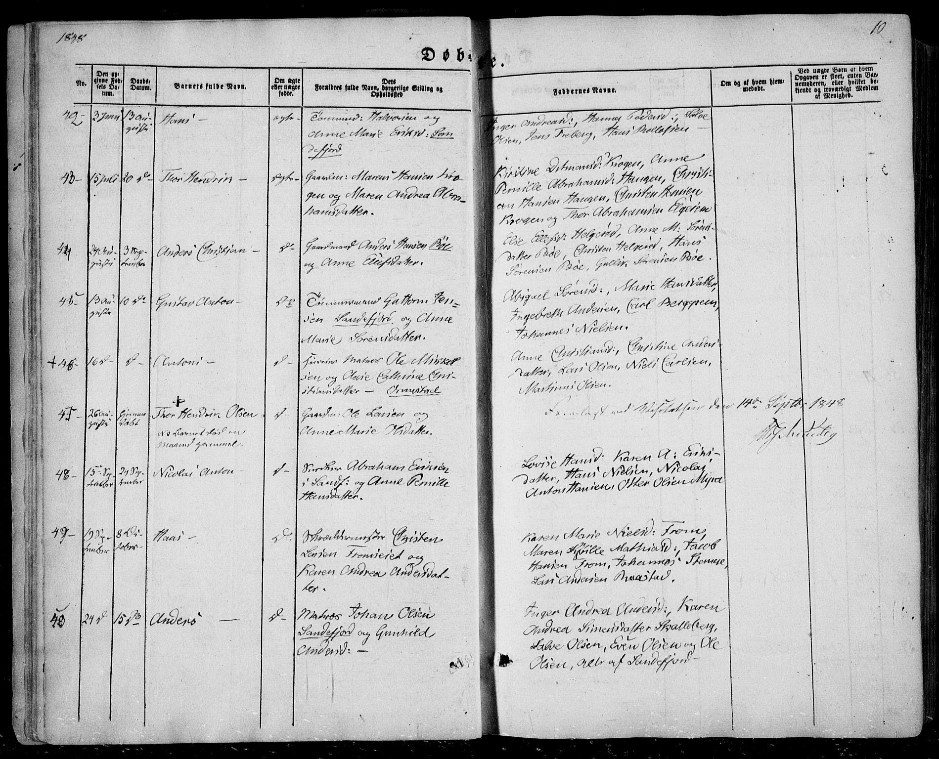SAKO, Sandar kirkebøker, F/Fa/L0006: Ministerialbok nr. 6, 1847-1860, s. 10