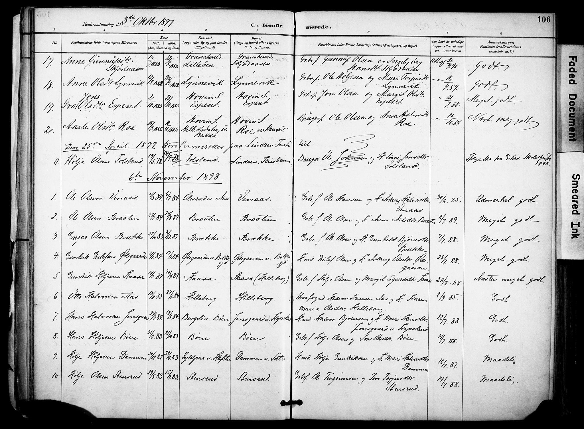 SAKO, Gransherad kirkebøker, F/Fa/L0005: Ministerialbok nr. I 5, 1887-1916, s. 106