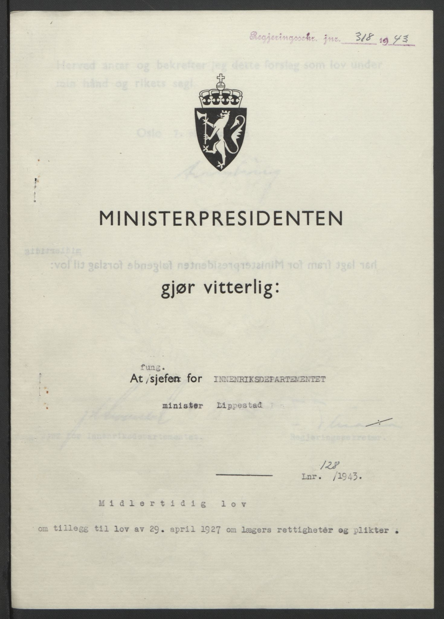 RA, NS-administrasjonen 1940-1945 (Statsrådsekretariatet, de kommisariske statsråder mm), D/Db/L0099: Lover, 1943, s. 599