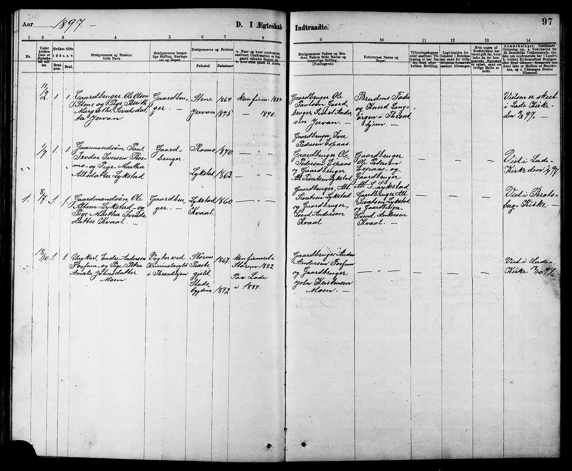 SAT, Ministerialprotokoller, klokkerbøker og fødselsregistre - Sør-Trøndelag, 608/L0341: Klokkerbok nr. 608C07, 1890-1912, s. 97