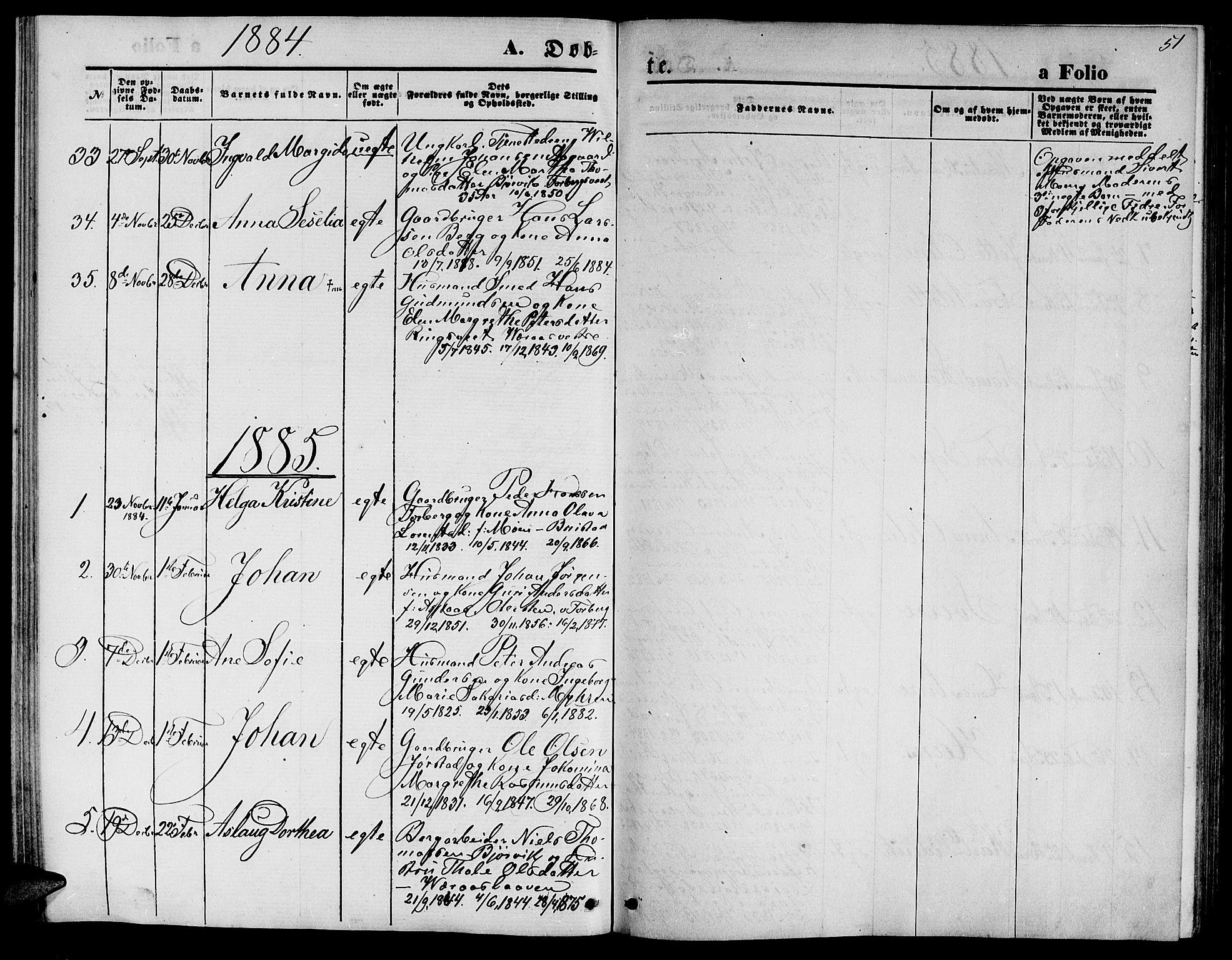 SAT, Ministerialprotokoller, klokkerbøker og fødselsregistre - Nord-Trøndelag, 722/L0225: Klokkerbok nr. 722C01, 1871-1888, s. 51