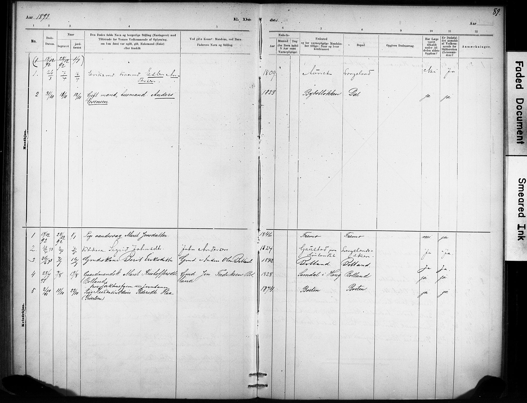 SAT, Ministerialprotokoller, klokkerbøker og fødselsregistre - Sør-Trøndelag, 693/L1119: Ministerialbok nr. 693A01, 1887-1905, s. 89