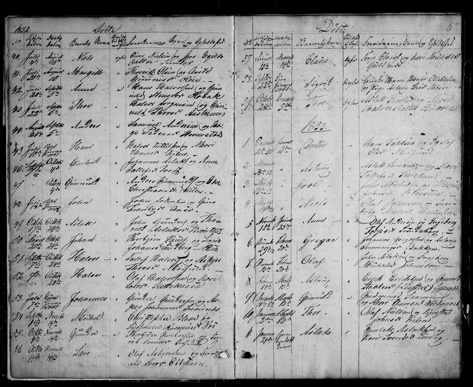 SAKO, Kviteseid kirkebøker, G/Ga/L0001: Klokkerbok nr. I 1, 1850-1893, s. 5