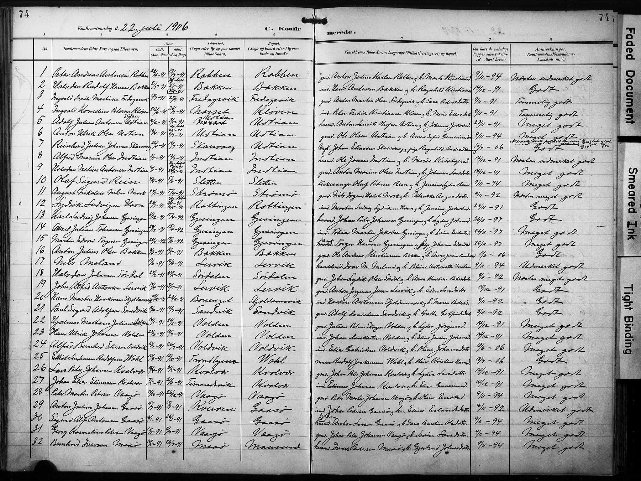 SAT, Ministerialprotokoller, klokkerbøker og fødselsregistre - Sør-Trøndelag, 640/L0580: Ministerialbok nr. 640A05, 1902-1910, s. 74