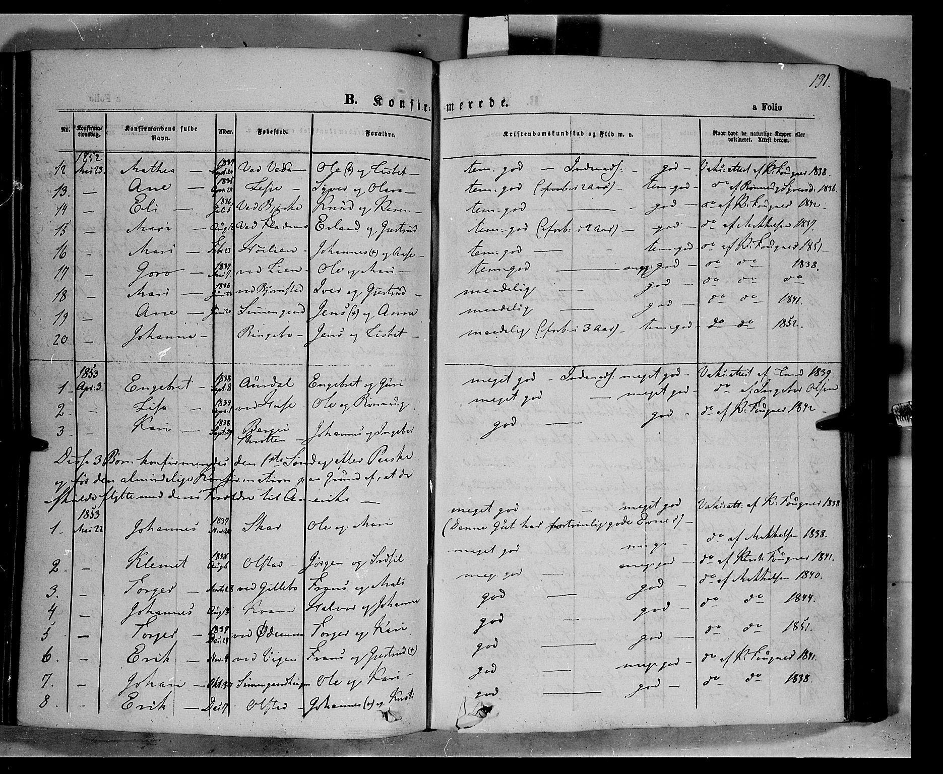 SAH, Øyer prestekontor, Ministerialbok nr. 5, 1842-1857, s. 191