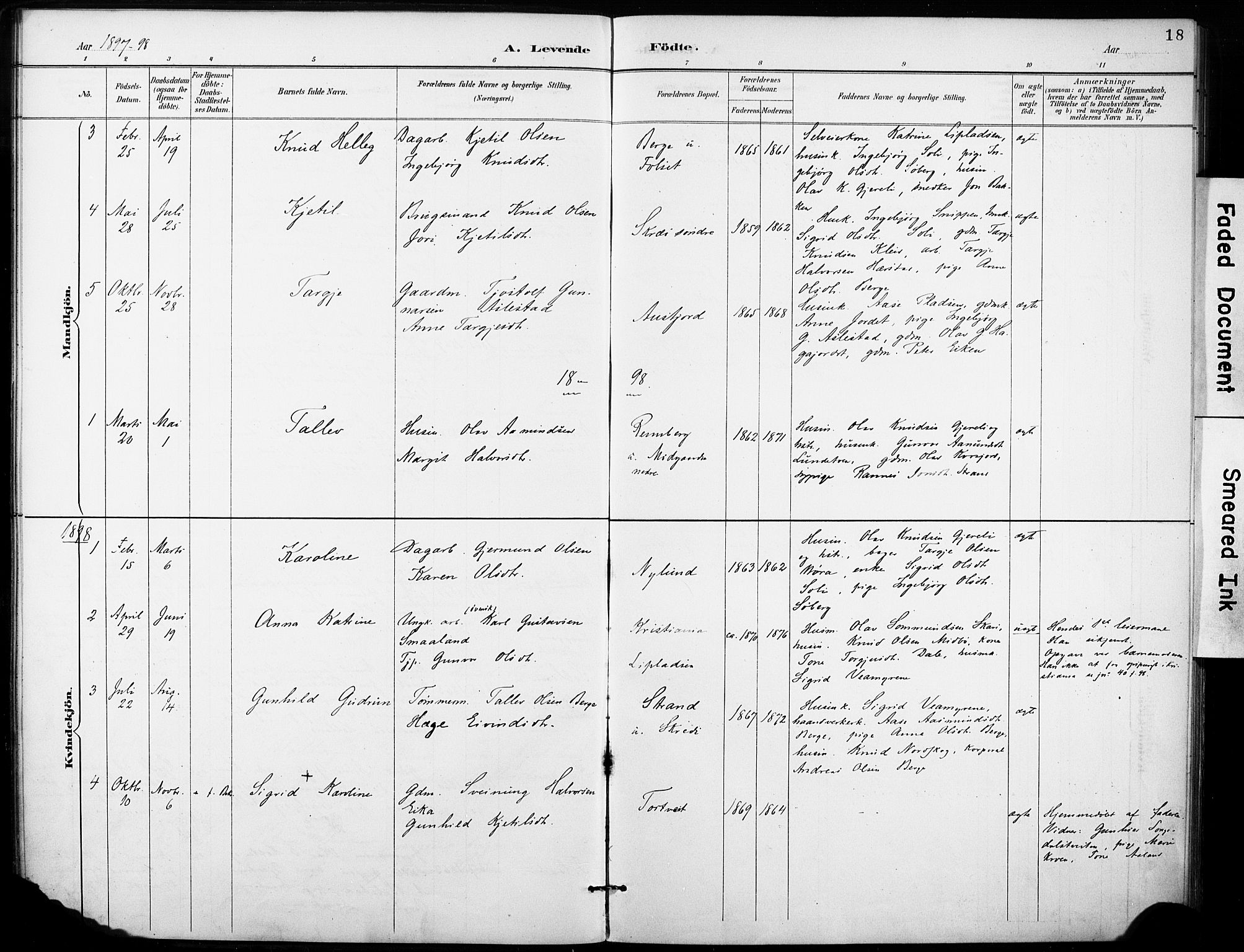 SAKO, Fyresdal kirkebøker, F/Fb/L0003: Ministerialbok nr. II 3, 1887-1903, s. 18